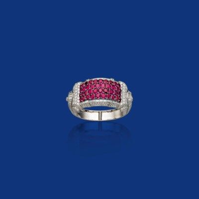 A RUBY AND DIAMOND BANGLE