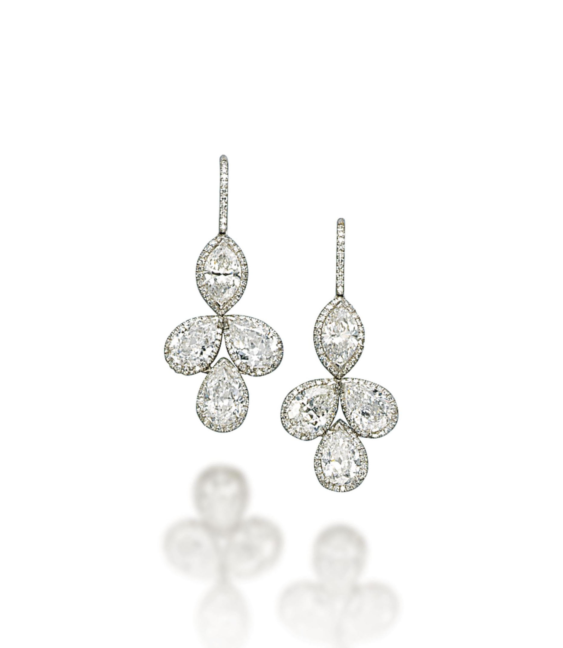 A PAIR OF DIAMOND EAR PENDANTS, BY MANUEL BOUVIER