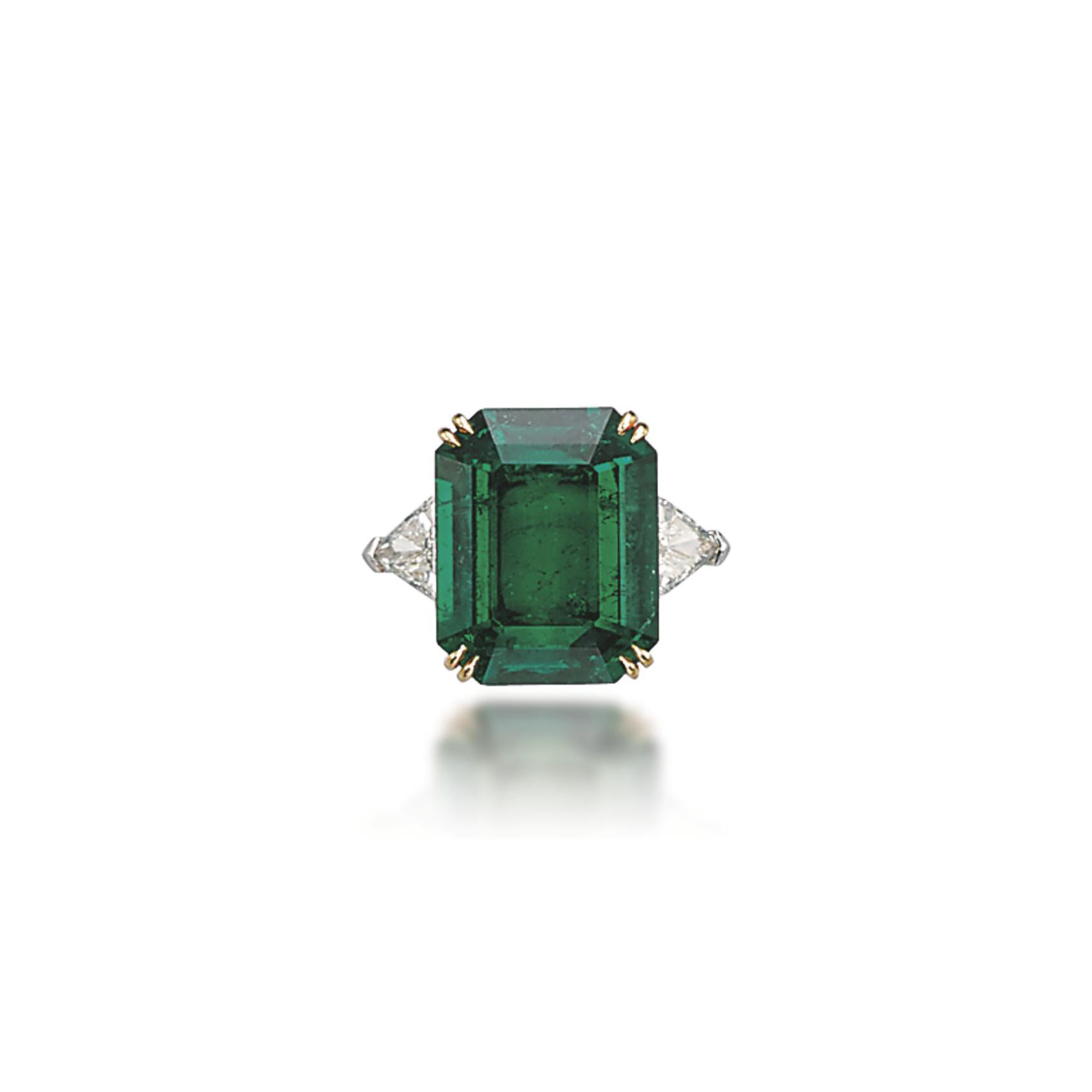 AN EMERALD AND DIAMOND RING, BY CHATILA