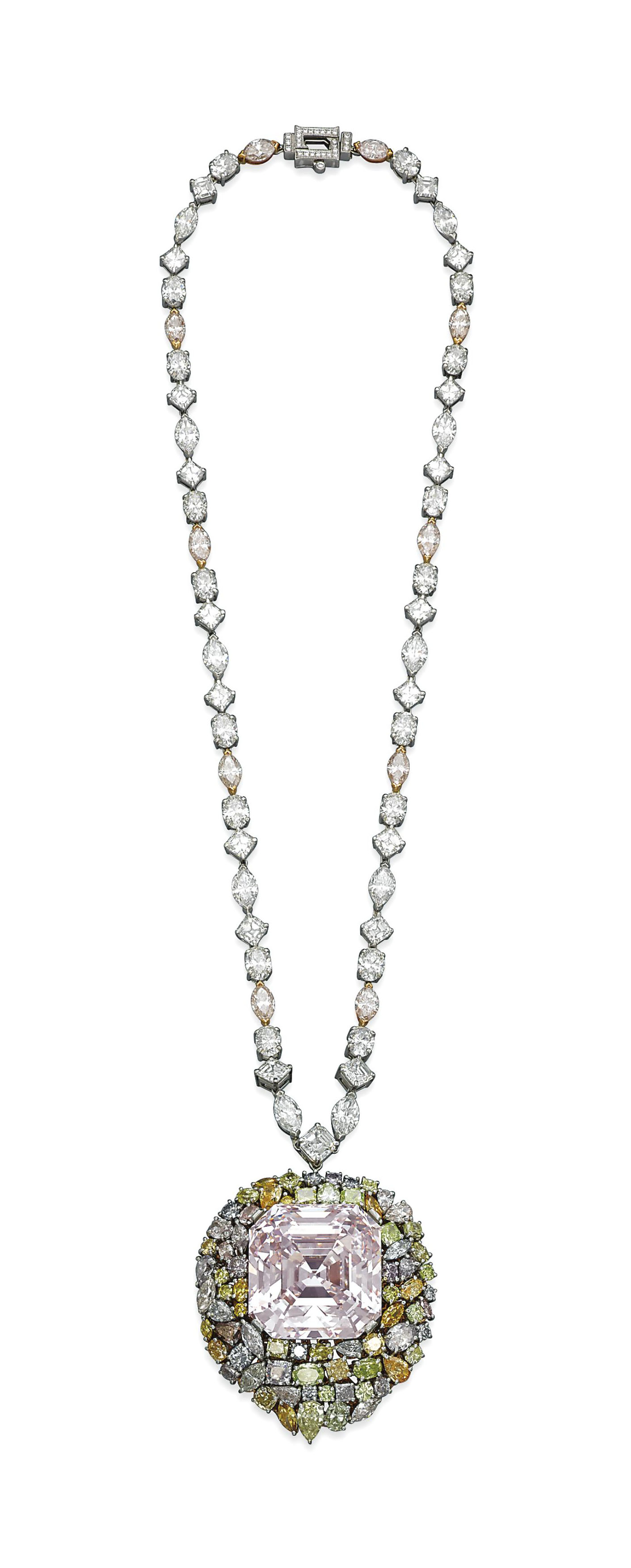 A MAGNIFICENT COLOURED DIAMOND NECKLACE, BY LEVIEV