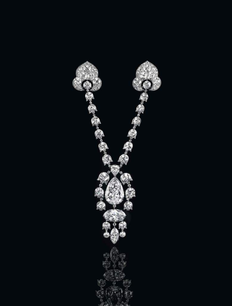 A Belle Époque diamond Devant-de-Corsage brooch, by Cartier. Sold for CHF 15,845,000 on 14 May 2014 at Christie's in Geneva