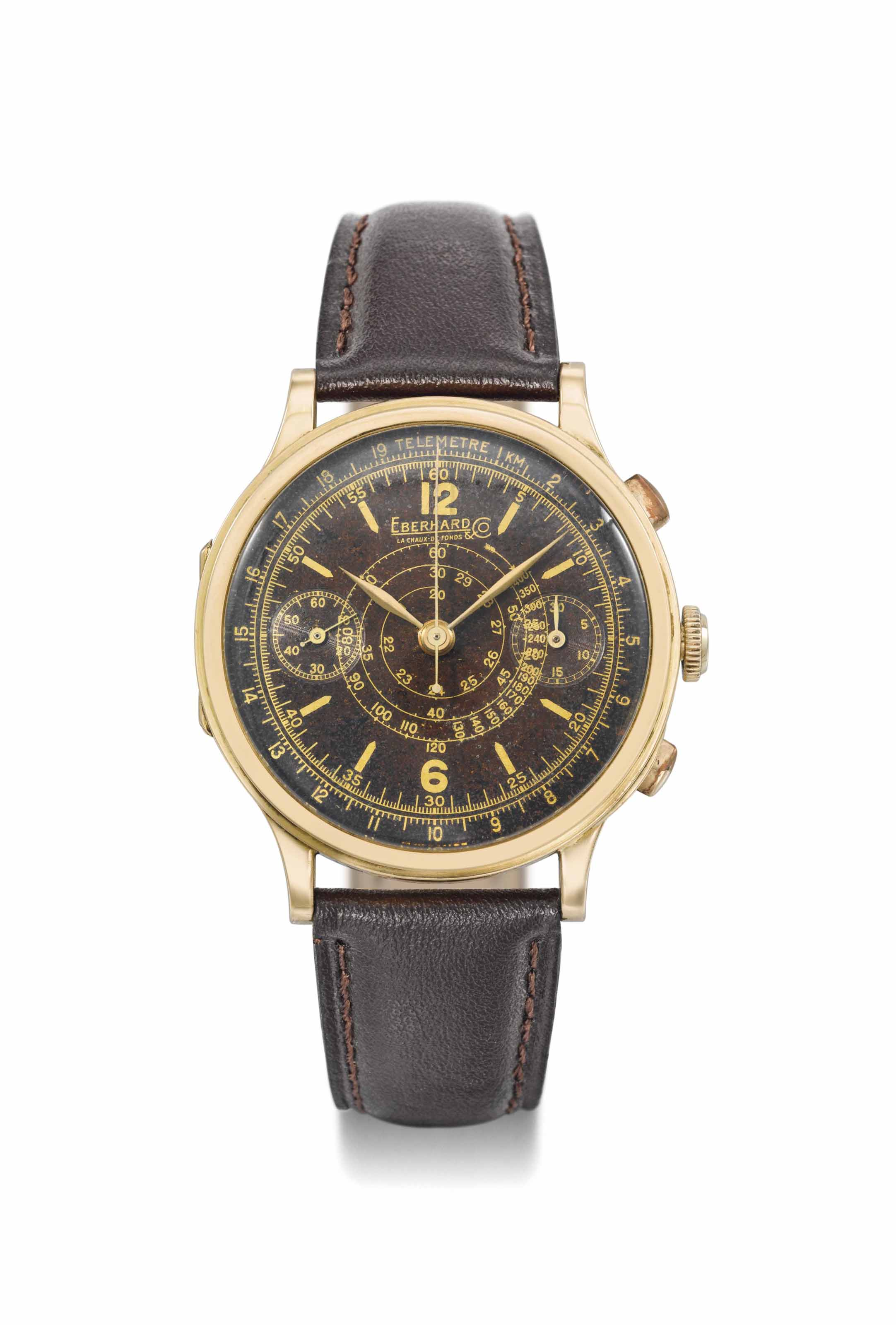 Eberhard & Co. A large, very attractive and rare 18K gold hinged single button chronograph wristwatch with stop function and tropical brown dial