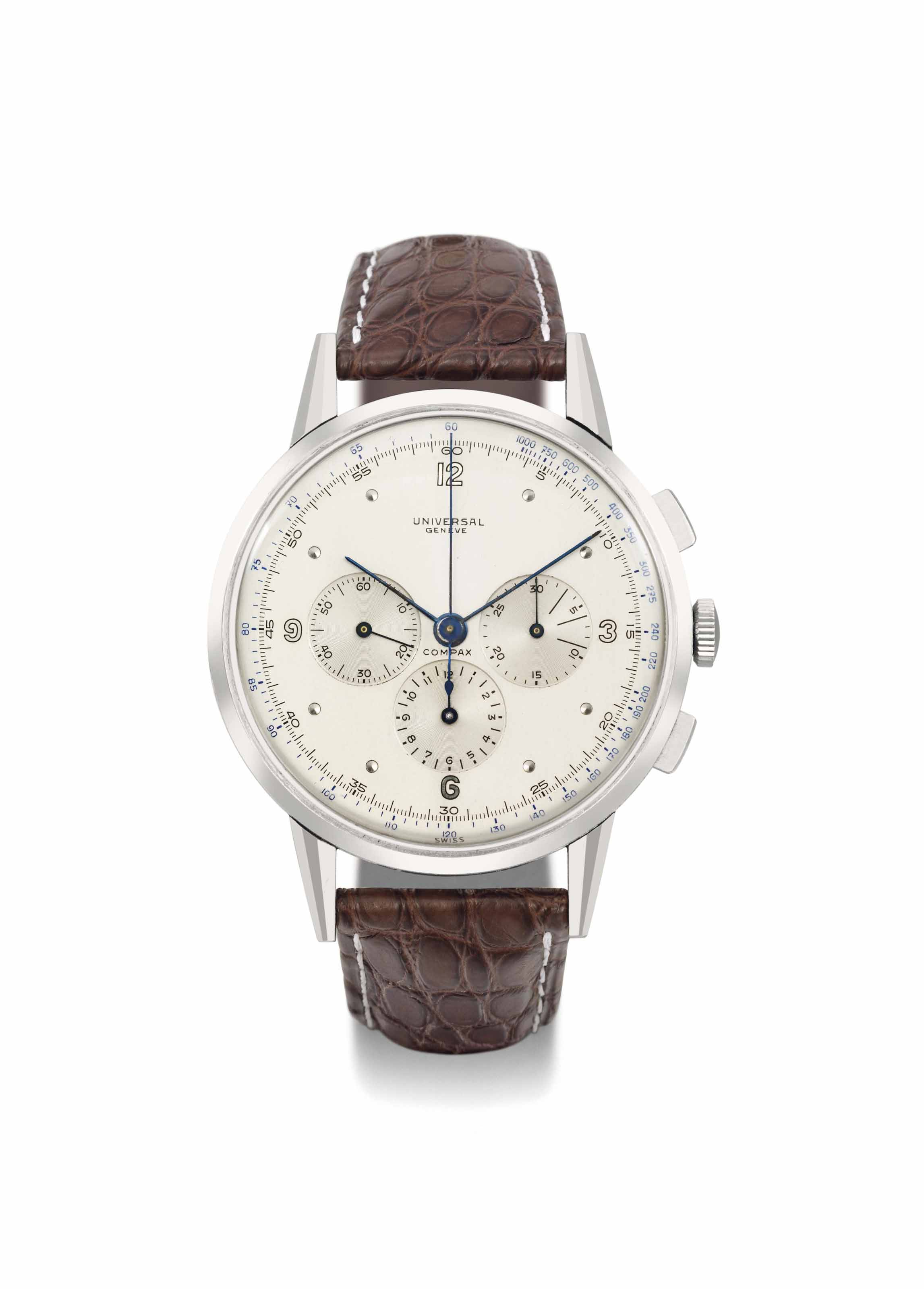 Universal. A highly rare and unusual oversized stainless steel chronograph wristwatch with two-toned silvered dial