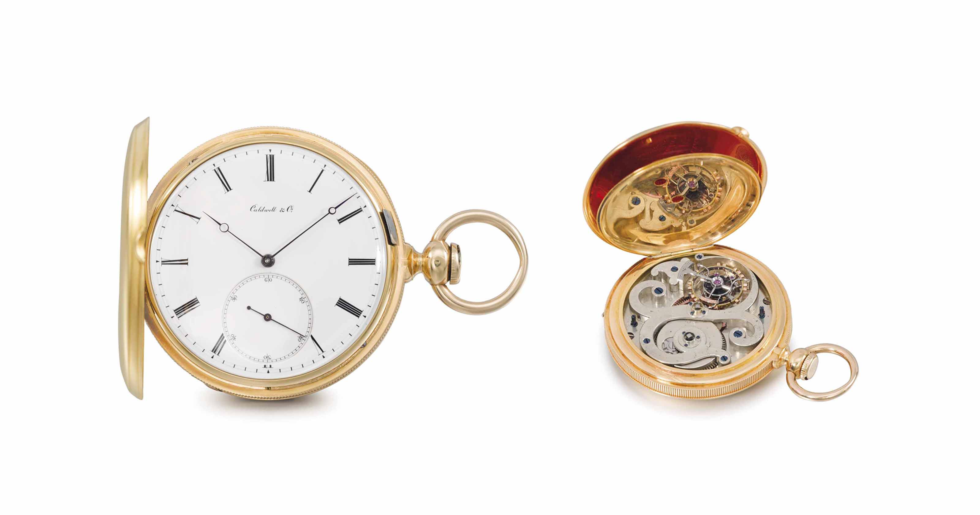 Ernest Guinand made for J.E. Caldwell & Co. A fine and rare 18K gold hunter case keywound pocket chronometer with tourbillon