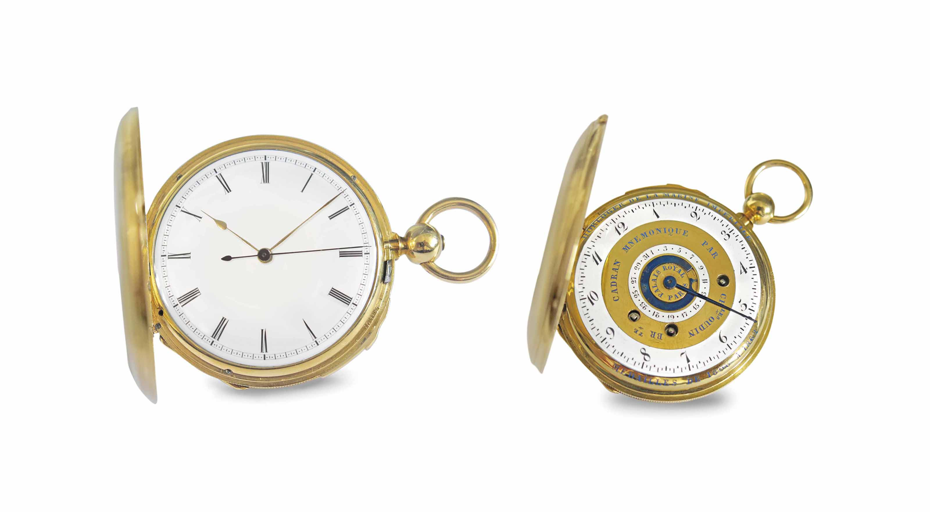 Charles Oudin. A highly rare and unusual 18K gold hunter case two train quarter repeating keywound lever watch with independent dead centre seconds and patented mnemonic dial