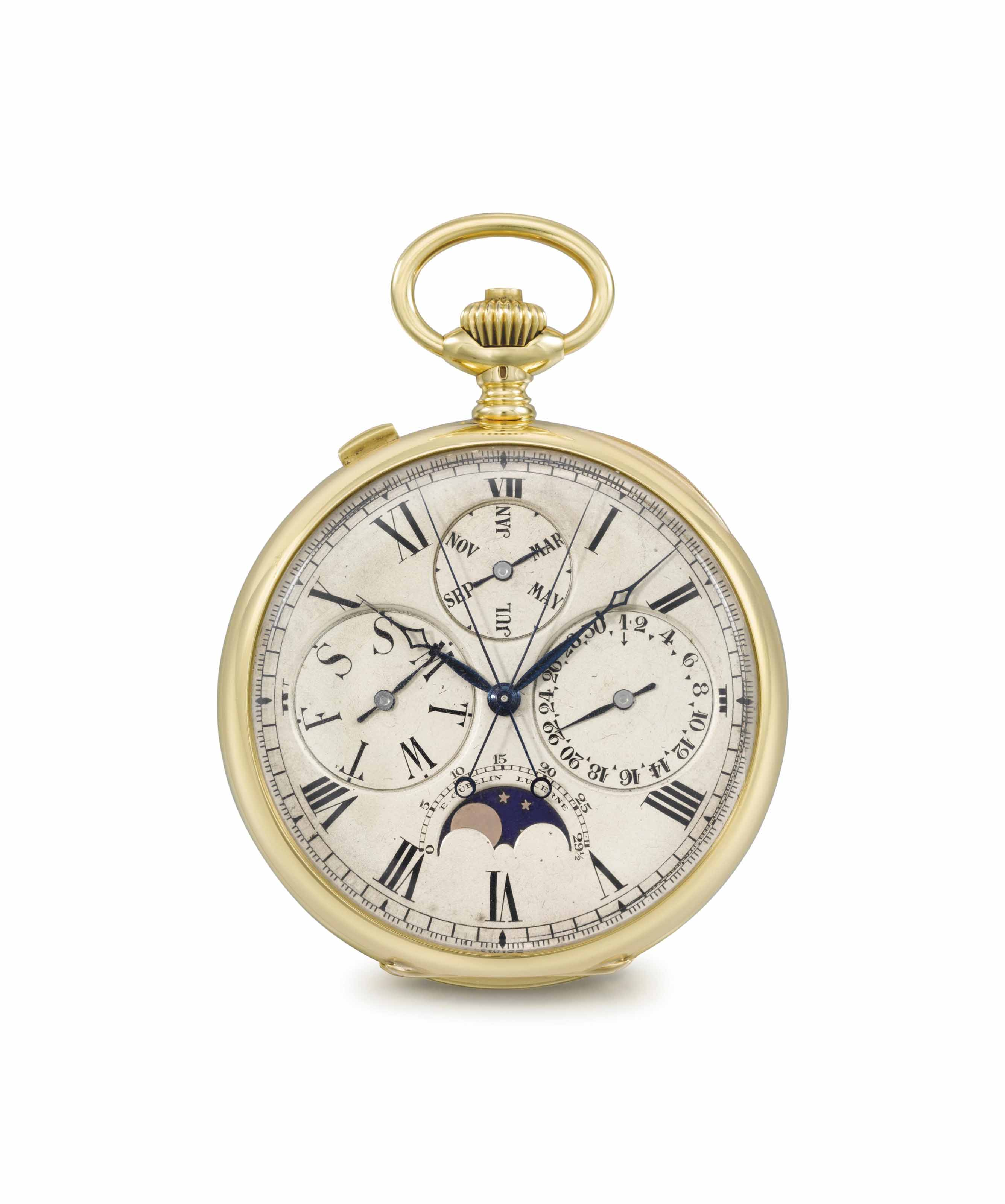 Audemars Piguet for E. Gübelin. A very fine and rare 18K gold openface perpetual calendar split seconds chronograph keyless lever watch with moon phases and oversized subsidiary dials