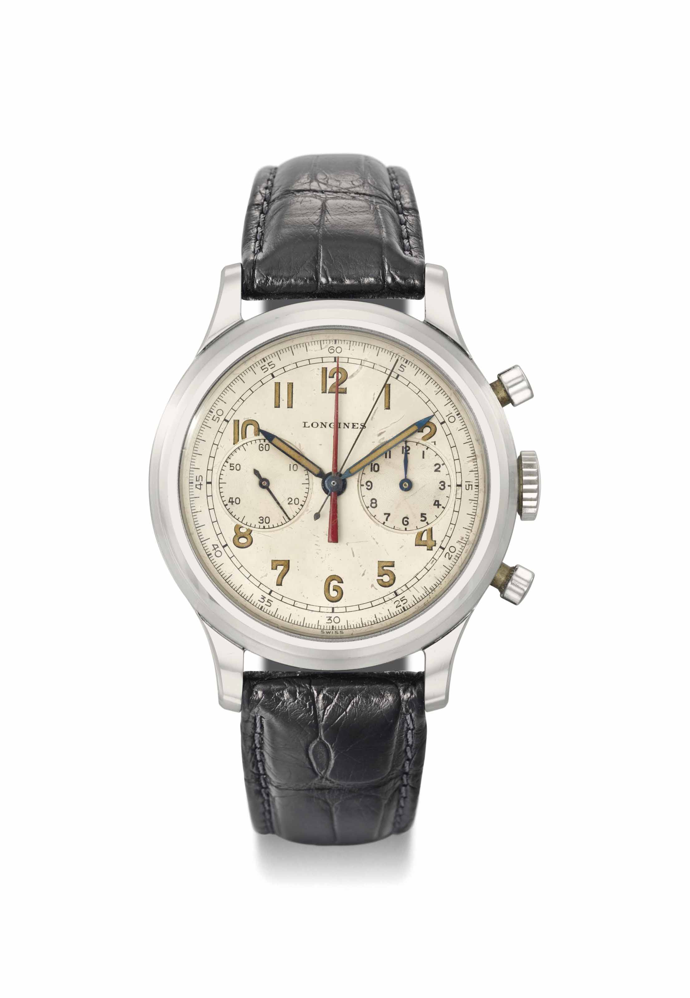 Longines. A large and attractive stainless steel chronograph wristwatch with central minute register