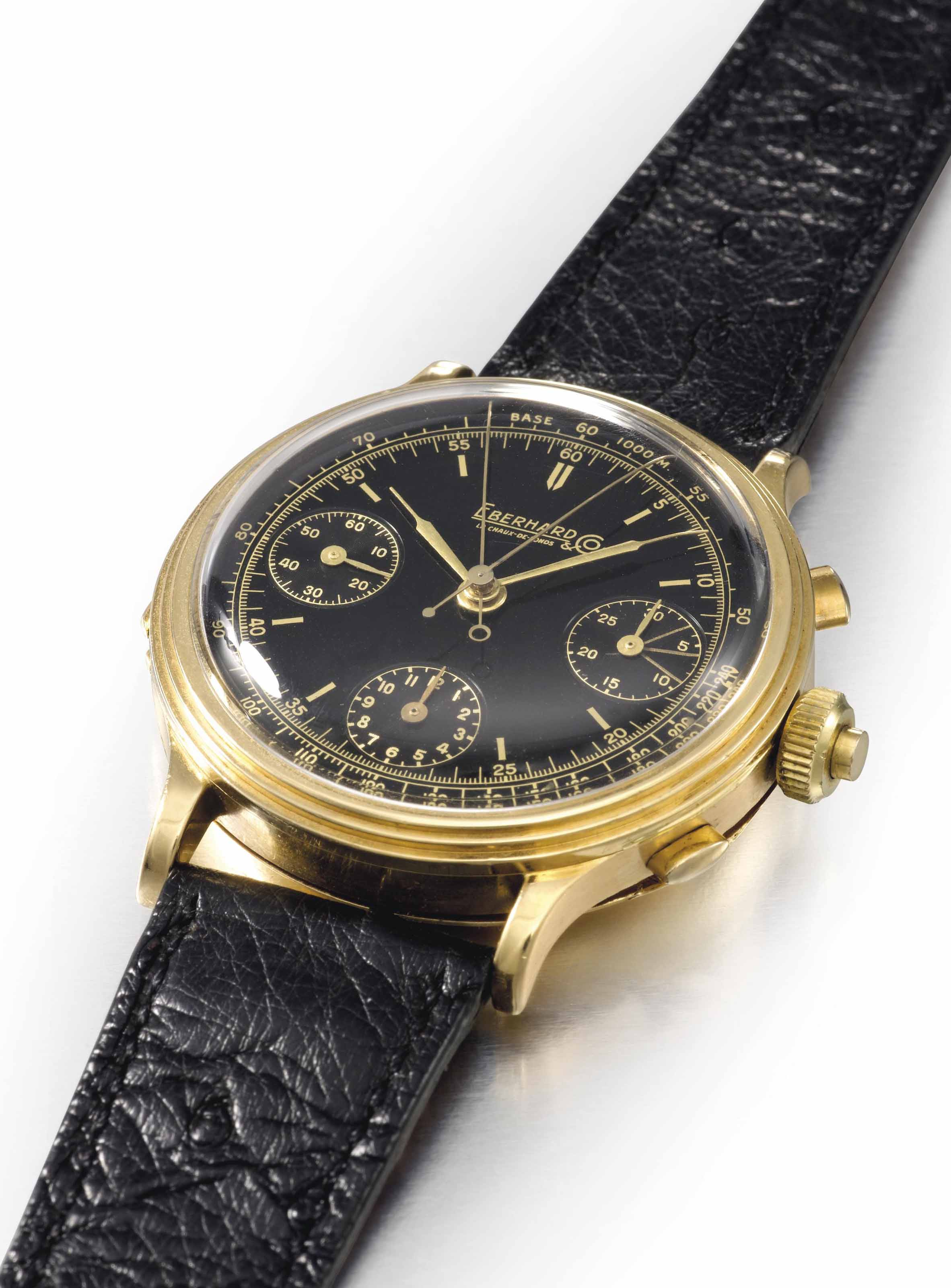 Eberhard. An extremely fine and unusual oversized 18K gold split seconds chronograph wristwatch with black dial