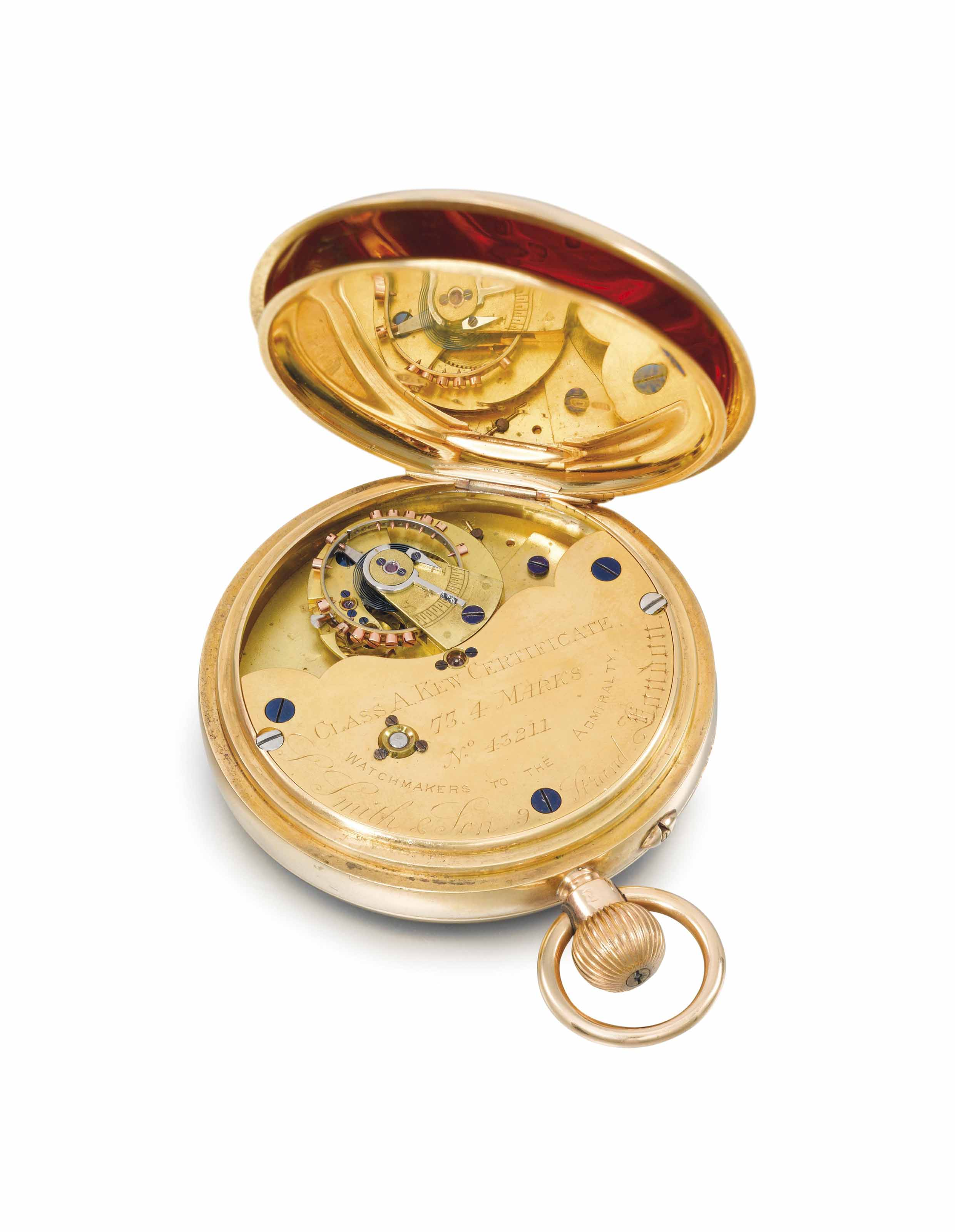 Smith & Sons. An unusual 18K gold openface keyless pocket chronometer with 52 1/2 minute karussel with Class A Kew Certificate