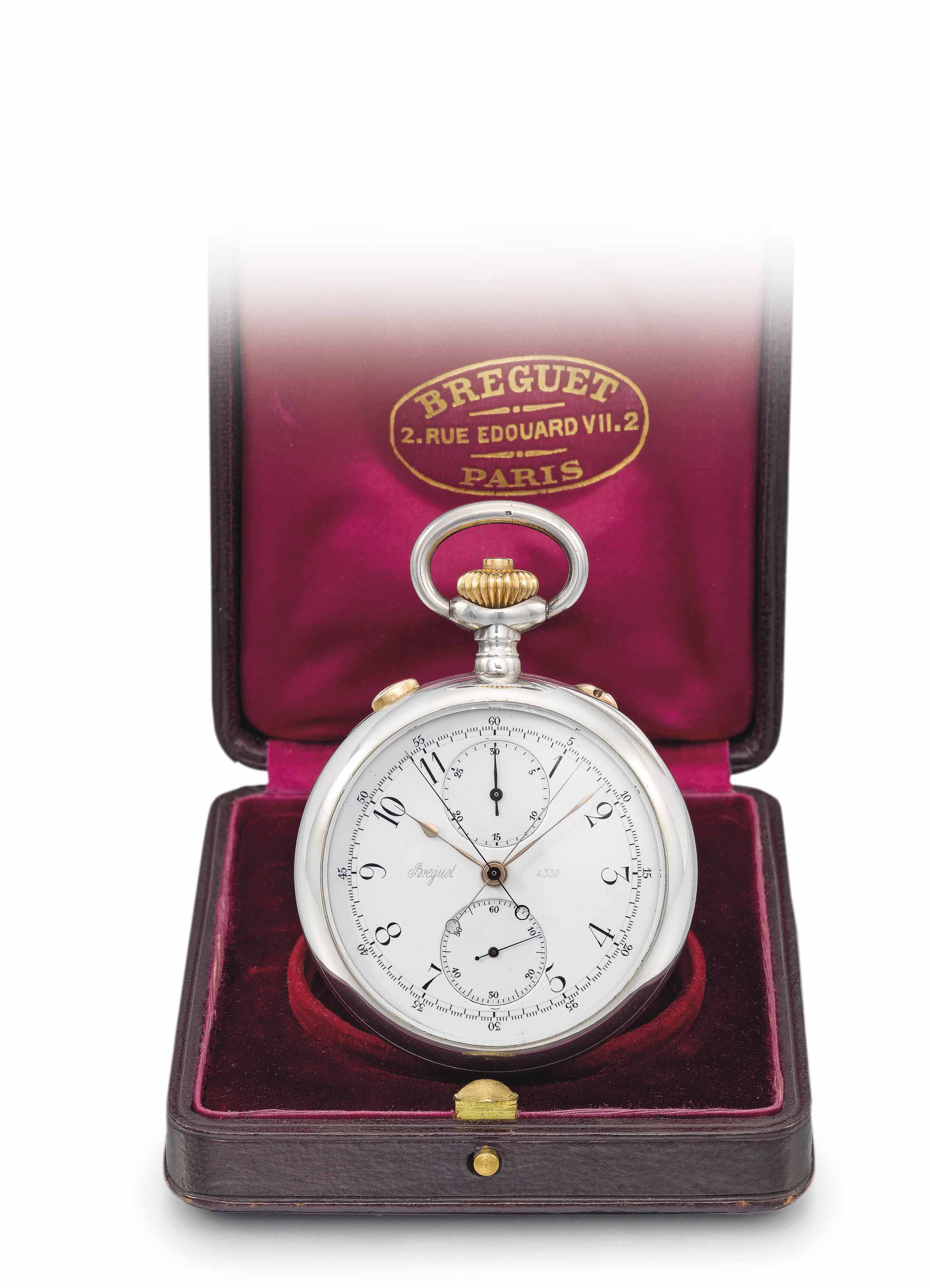 Breguet. A silver and gold ope