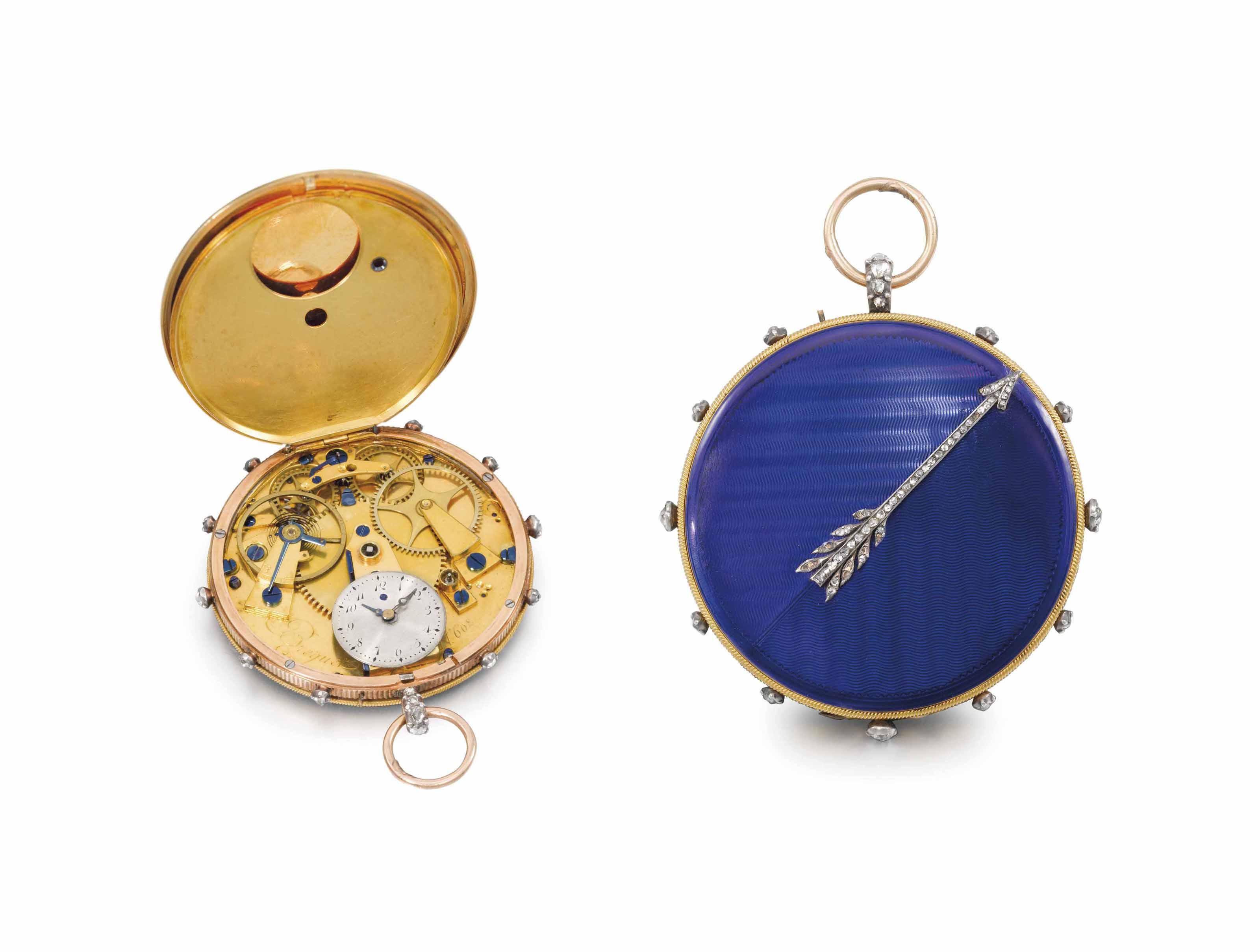 Breguet. A very fine, rare and attractive 18K pink gold, enamel and diamond-set hunter case 'médaillon montre à tact' cylinder watch