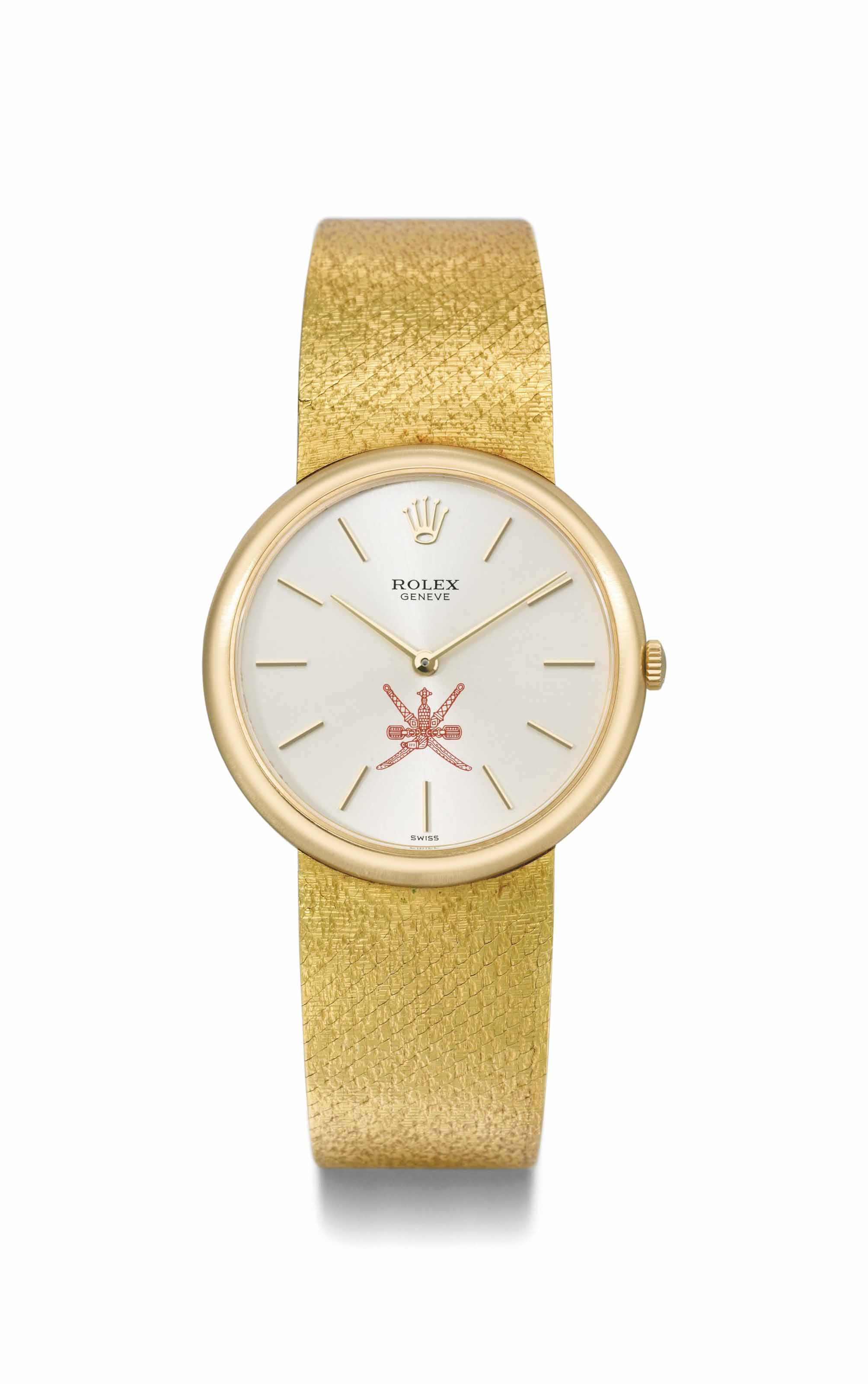 Rolex. An 18K gold bracelet watch made for the Sultanate of Oman