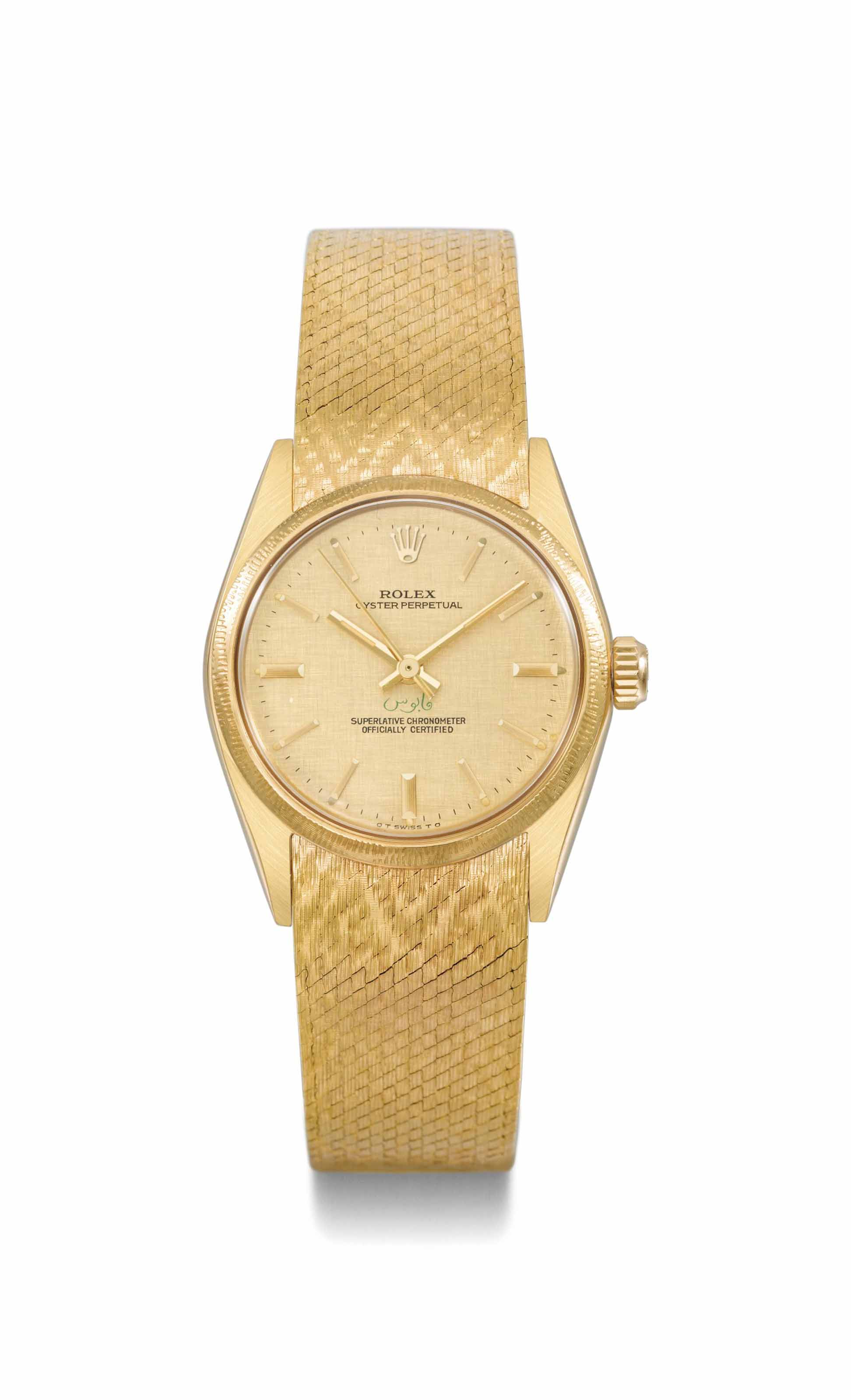 Rolex. A fine, attractive and very rare 18K gold automatic wristwatch with centre seconds and bracelet, made for the His Majesty, the Sultan of Oman Qaboos Bin Said Al Said