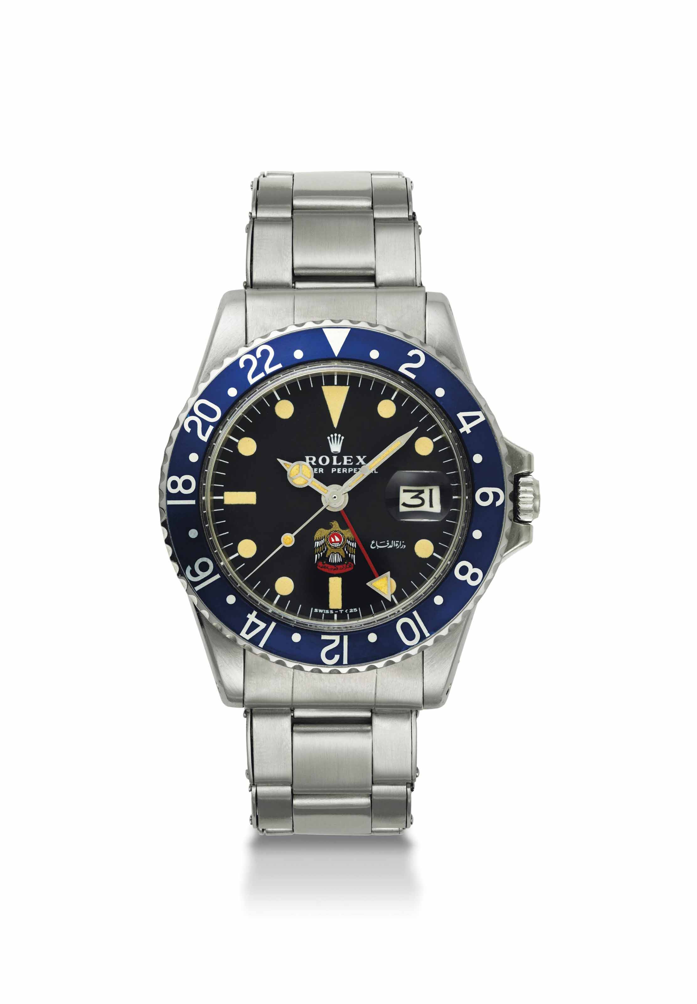 Rolex. A very fine and very rare stainless steel dual time automatic wristwatch with sweep centre seconds, date, bracelet and navy blue bezel, made for His Highness Sheikh Mohammed bin Rashid Al Maktoum