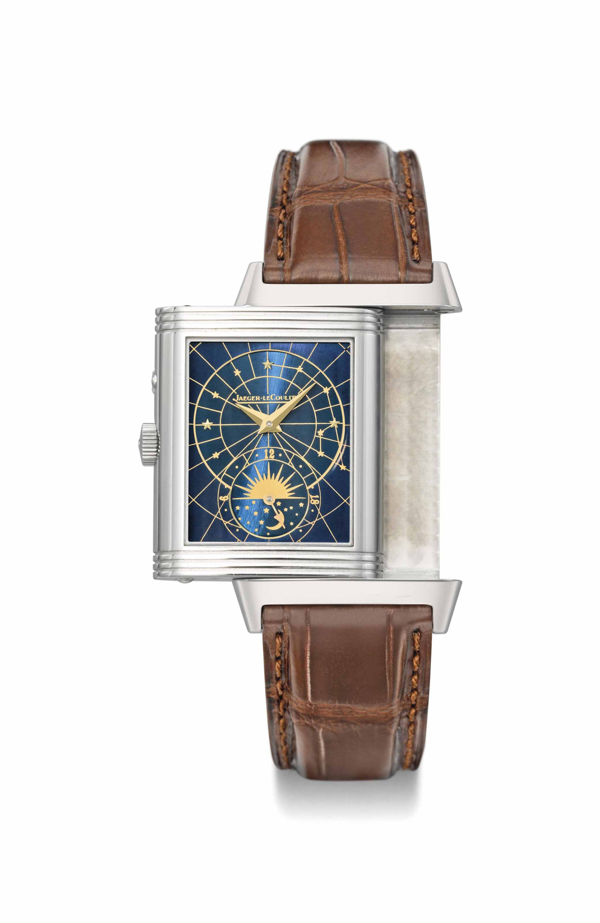 Jaeger-LeCoultre. A fine, rare and very attractive stainless steel rectangular reversible double dial wristwatch with 24 hour display and specially made blue starburst dial showing the big dipper constellation