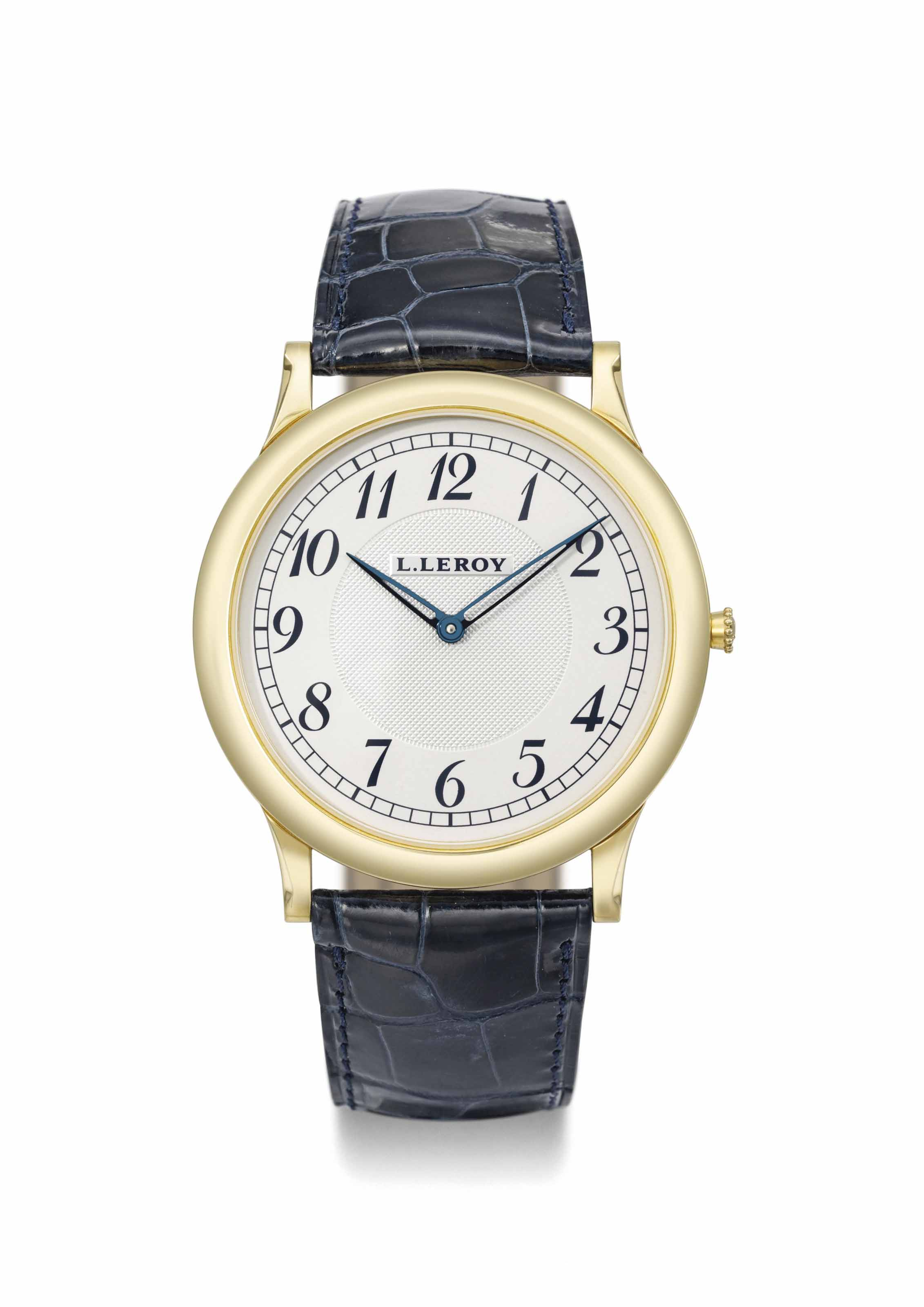 L. Leroy. A large 18K gold wristwatch with Breguet numerals