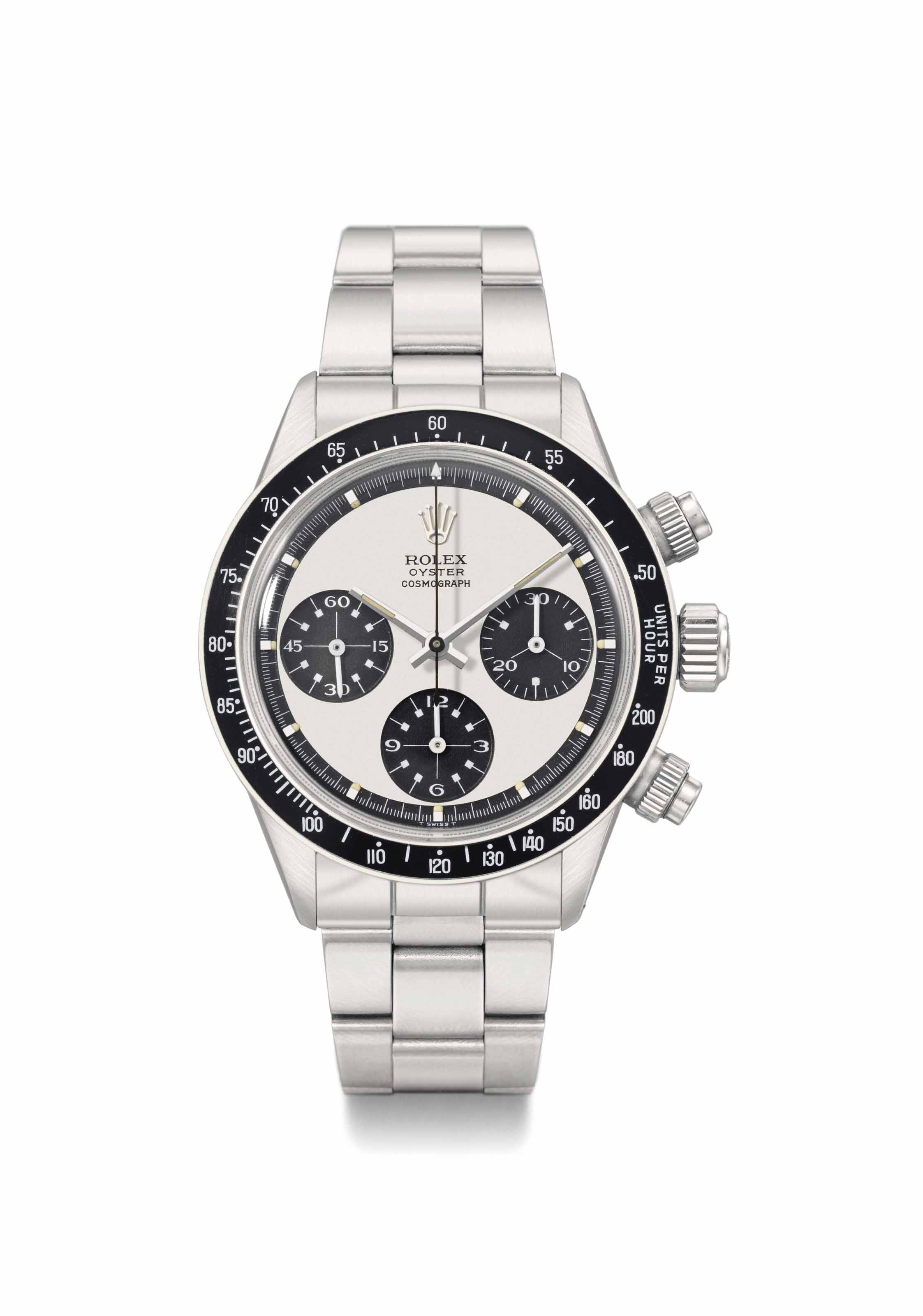 Rolex. A very rare and extremely attractive stainless steel chronograph wristwatch with so-called Panda dial and bracelet