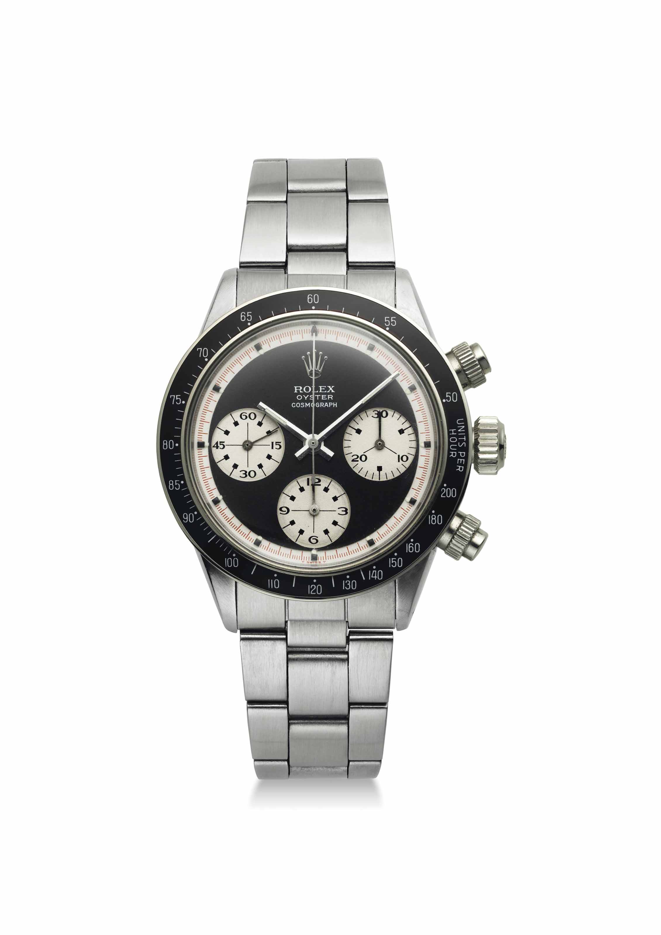 Rolex. An extremely fine, possibly unique and previously unknown stainless steel chronograph wristwatch with black non-Oyster sotto Paul Newman dial