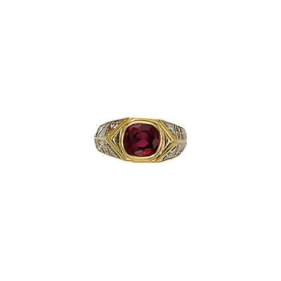 A RUBY AND DIAMOND RING, BY MA