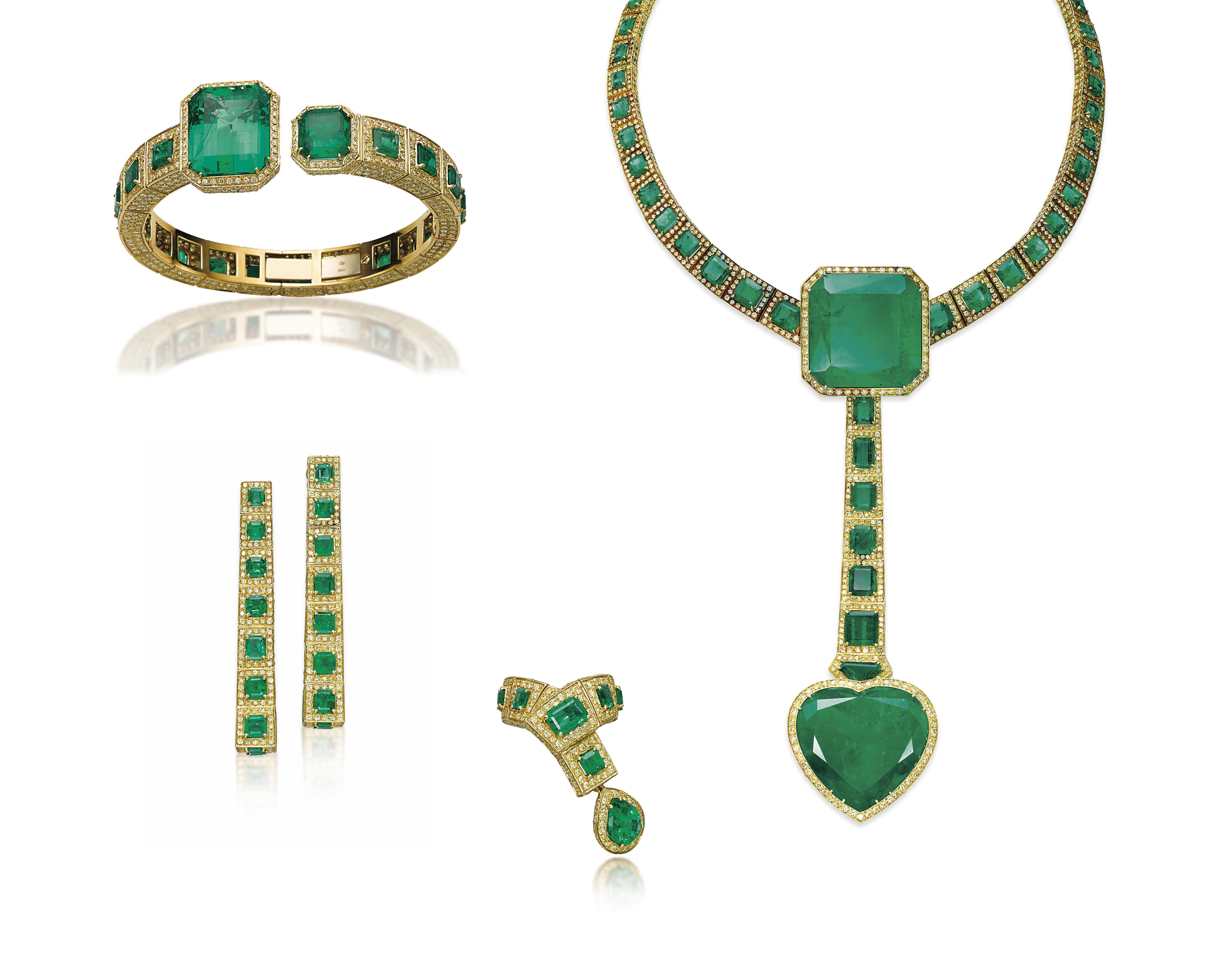 A SUITE OF EMERALD AND COLOURE