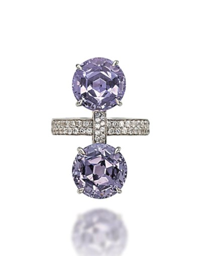 A TWO-STONE SAPPHIRE, SPINEL A