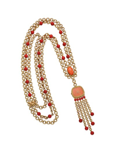 A CORAL AND GOLD PENDENT WATCH