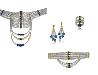 A SUITE OF SAPPHIRE, COLOURED
