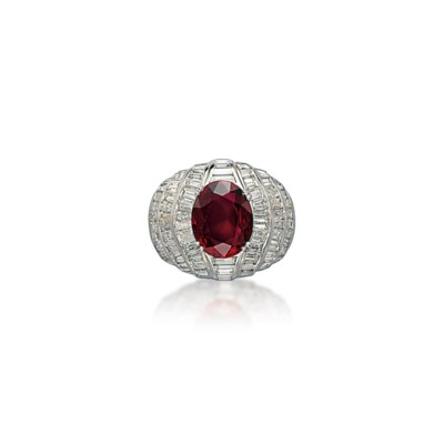 A RUBY AND DIAMOND RING, BY FA