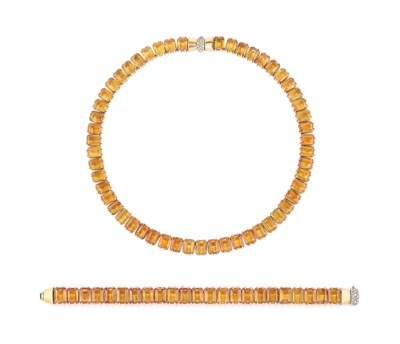 A SET OF RETRO CITRINE JEWELLE