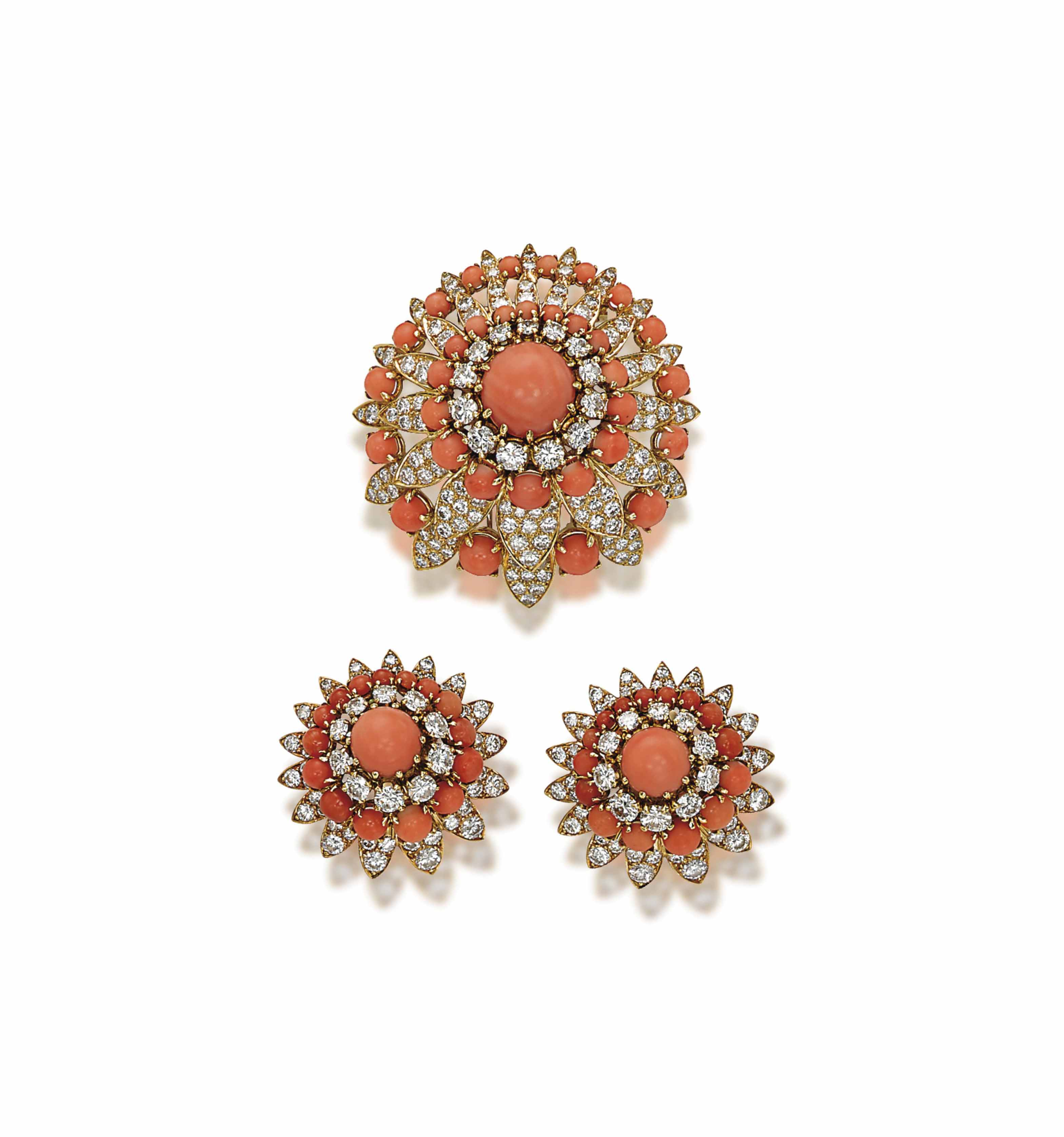 A SET OF CORAL AND DIAMOND JEW