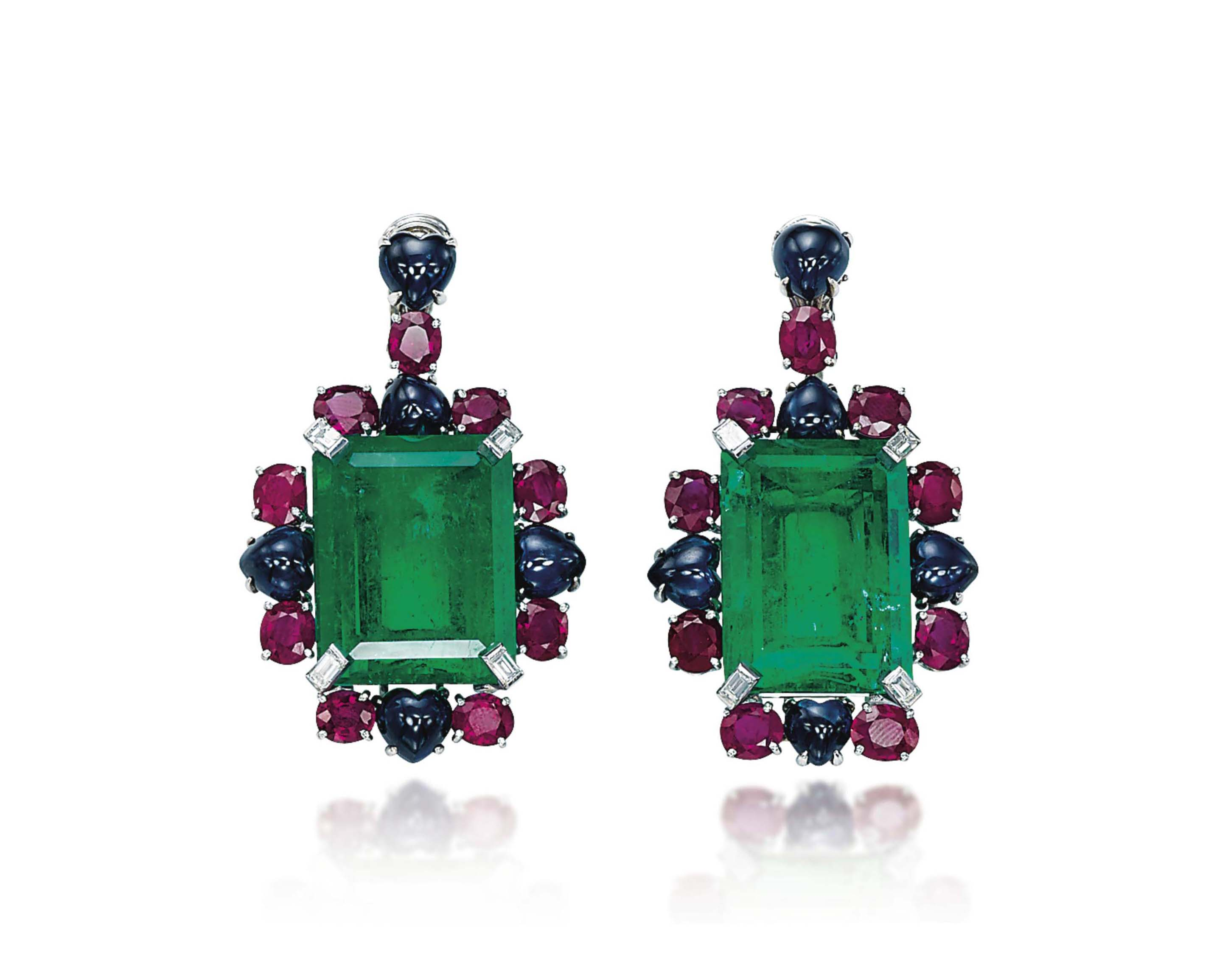 A PAIR OF EMERALD, RUBY, SAPPH