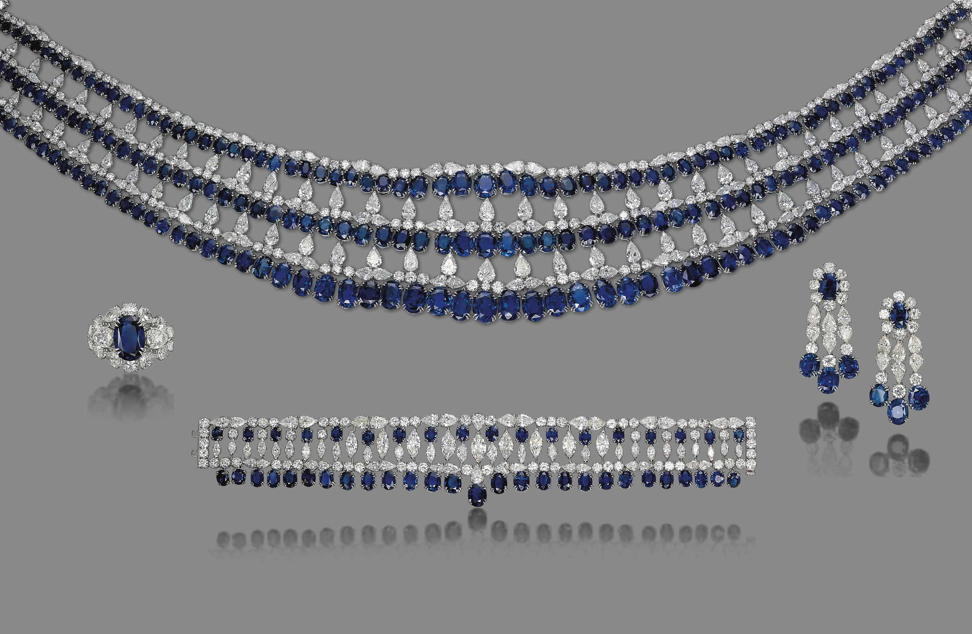 A SET OF SAPPHIRE AND DIAMOND JEWELLERY, BY JAHAN