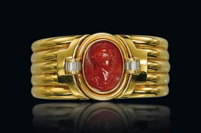 A CORNELIAN, DIAMOND AND GOLD