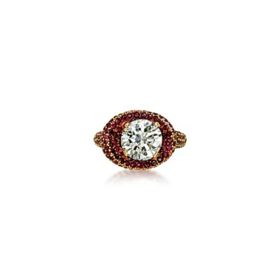 A DIAMOND AND RUBY RING, BY JA