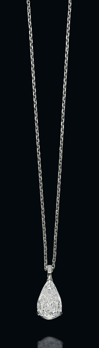 A DIAMOND PENDANT ON CHAIN, BY