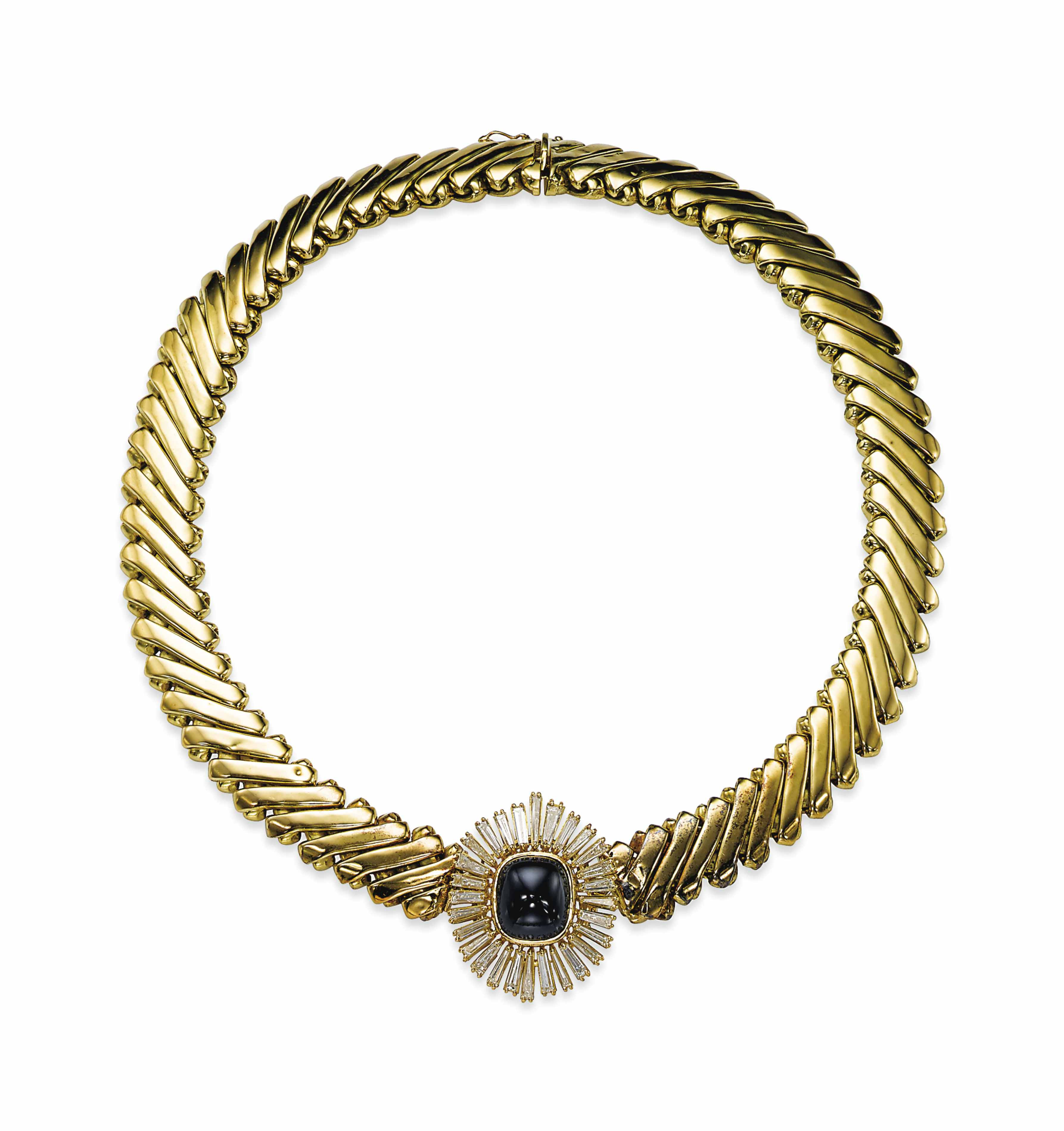 A SAPPHIRE, DIAMOND AND GOLD NECKLACE, BY BULGARI