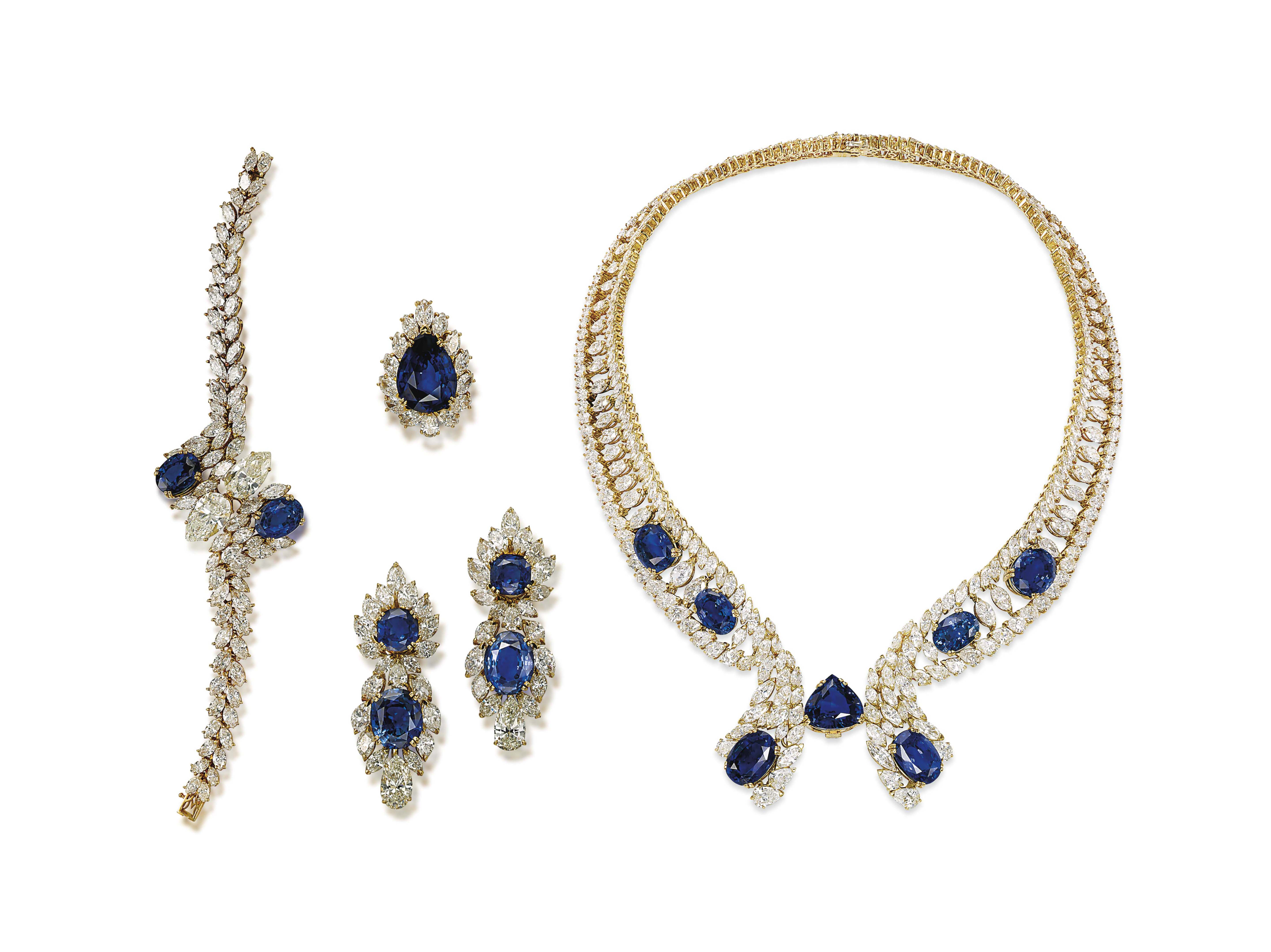 A SUITE OF SAPPHIRE AND DIAMON