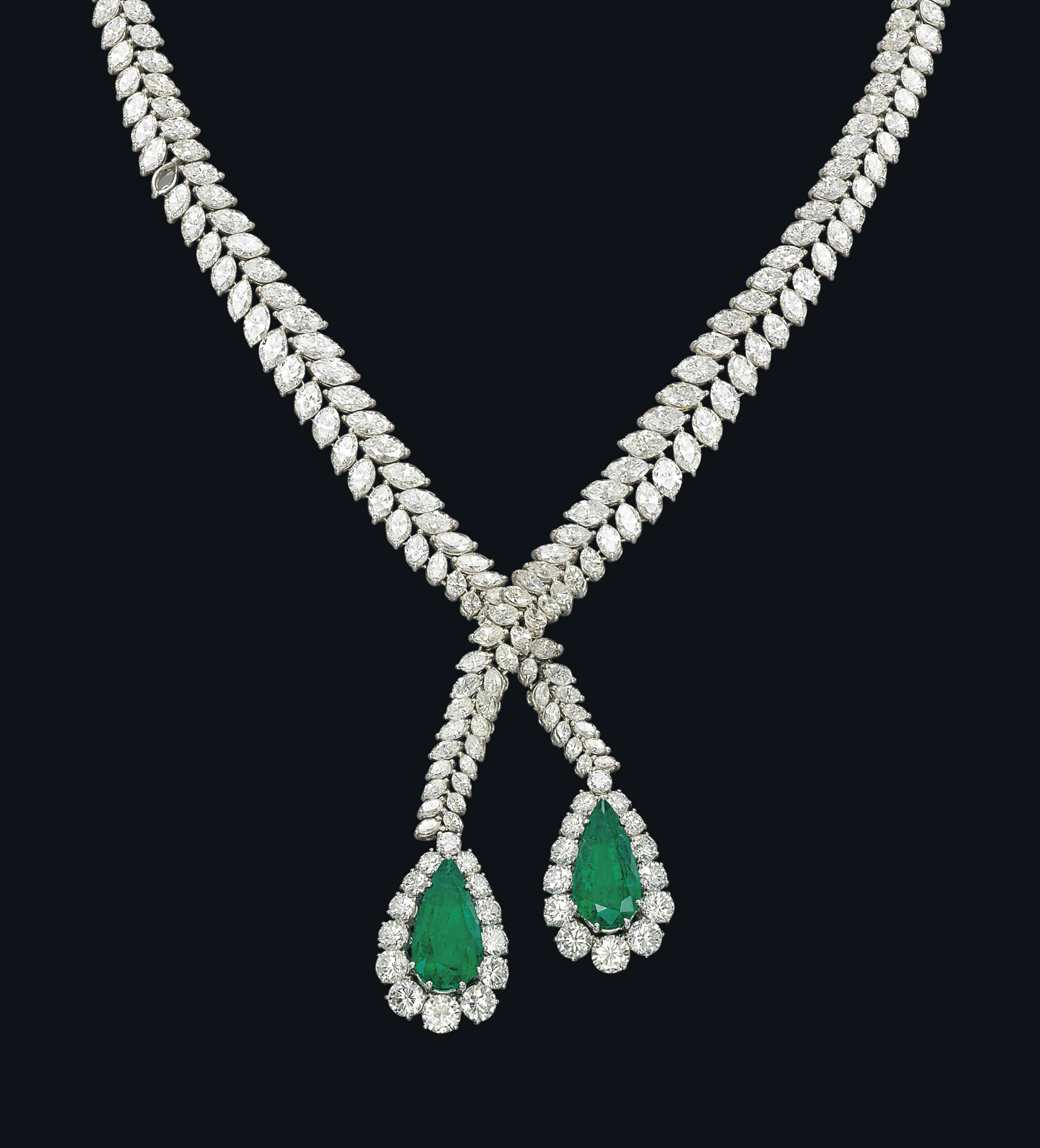 AN EMERALD AND DIAMOND NECKLACE, BY FARAONE