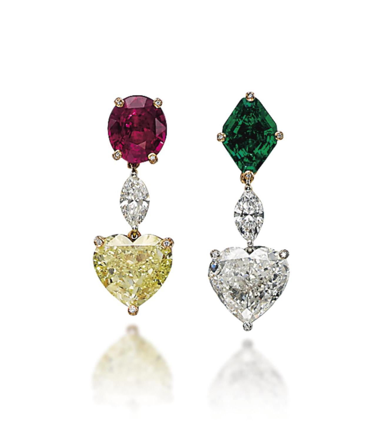 A PAIR OF DIAMOND, COLOURED DIAMOND, RUBY AND EMERALD EAR PENDANTS, BY DE GRISOGONO