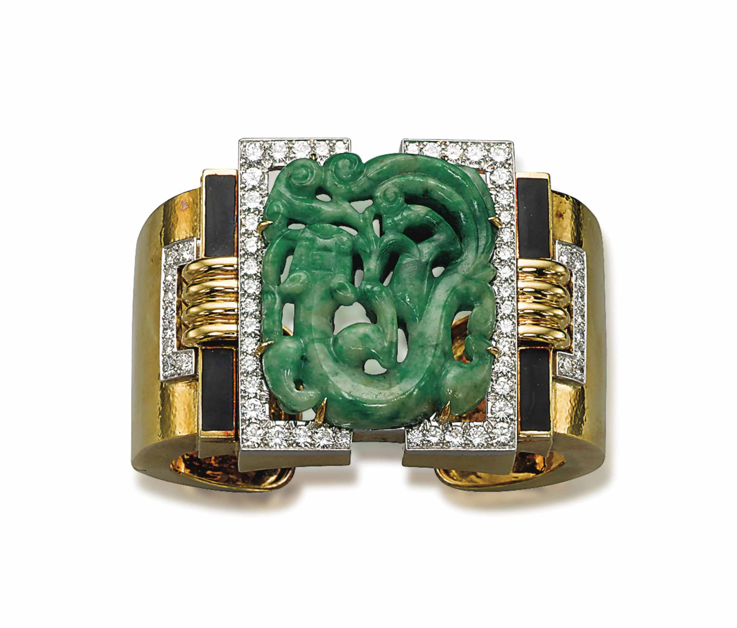 A JADE, ENAMEL AND DIAMOND BAN