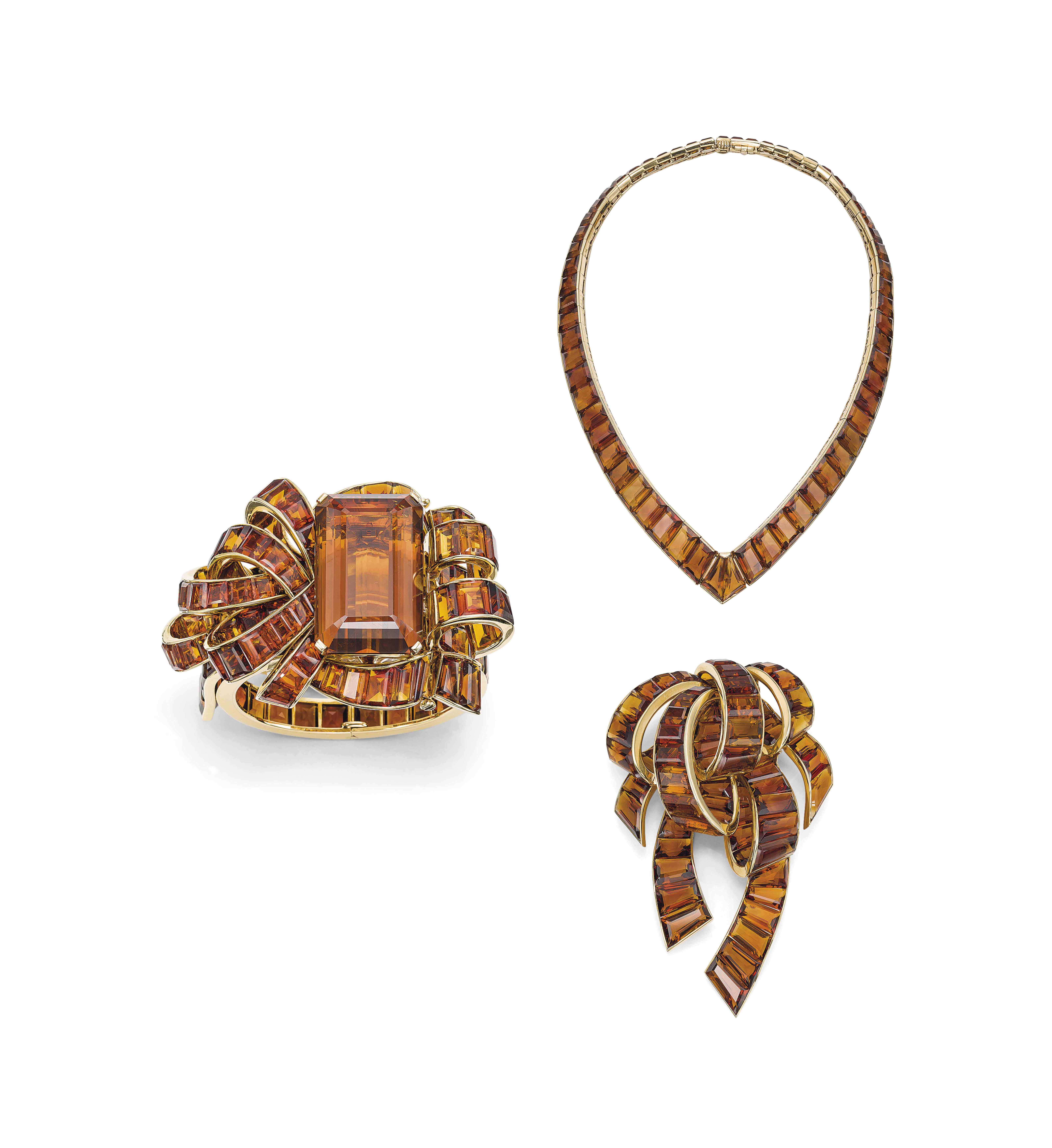 A SET OF RETRO CITRINE AND GOLD 'REFLECTION' JEWELLERY, BY TRABERT & HOEFFER-MAUBOUSSIN