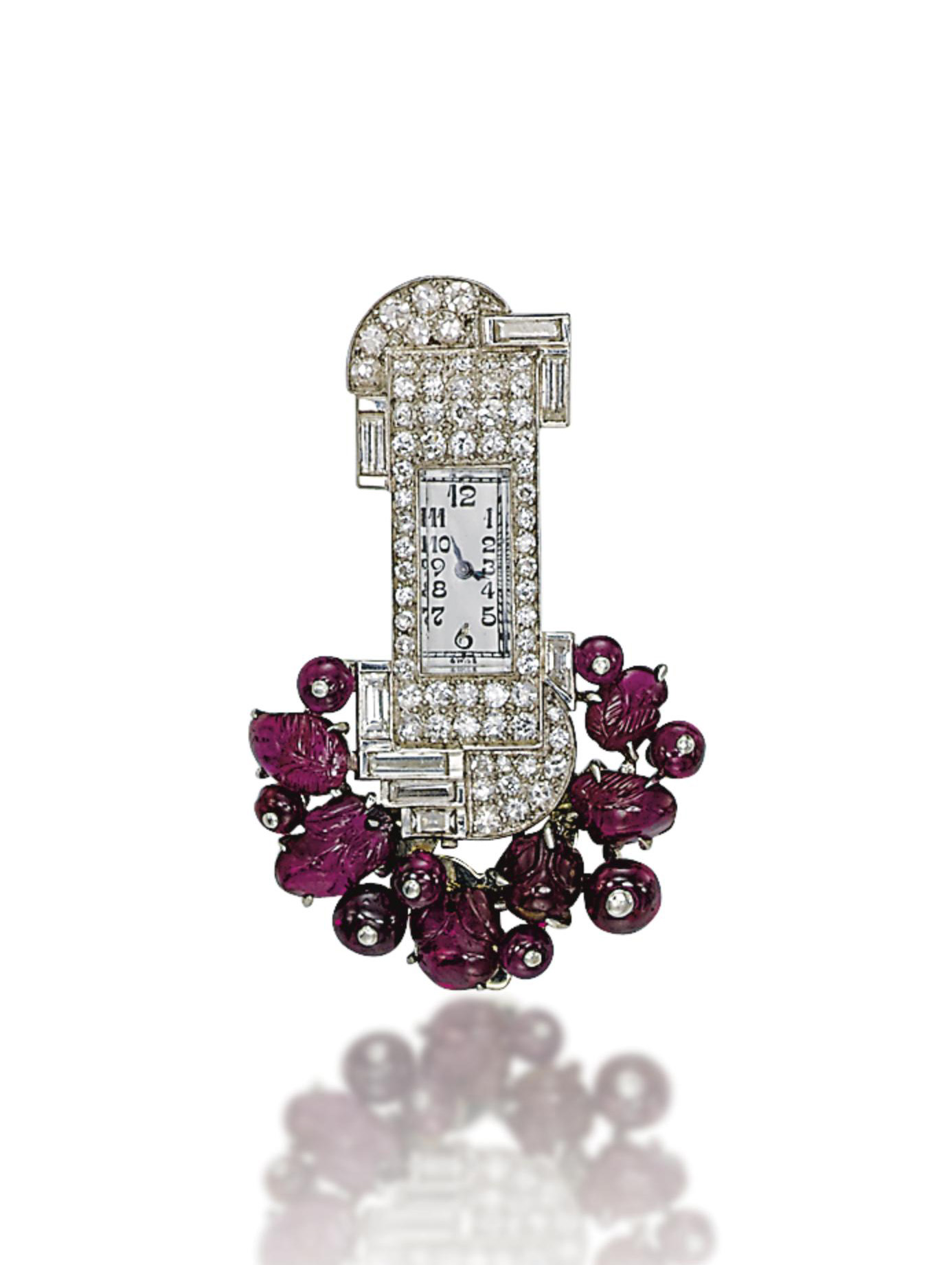 AN ART DECO RUBY AND DIAMOND W