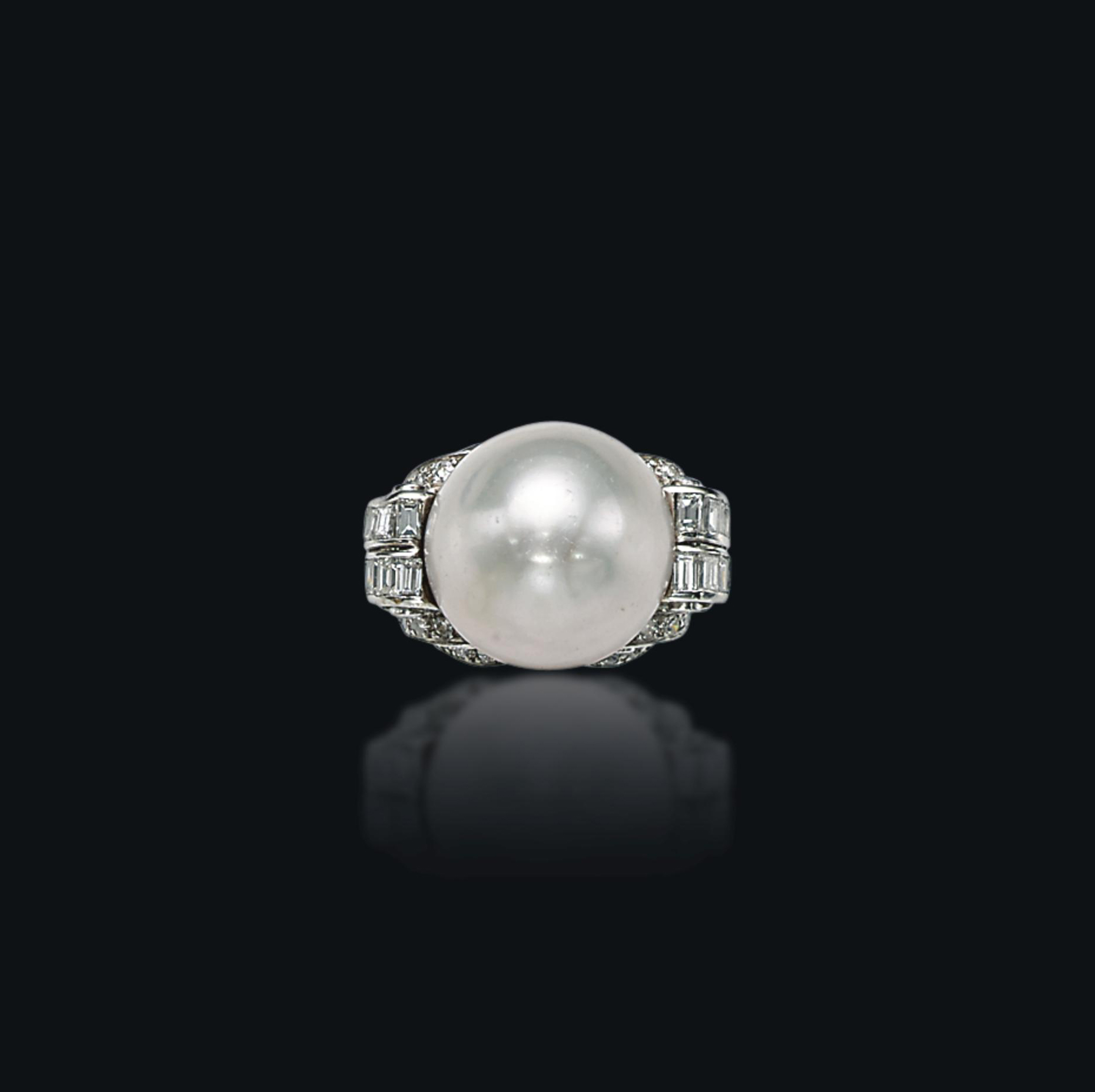 AN ART DEC0 NATURAL PEARL AND