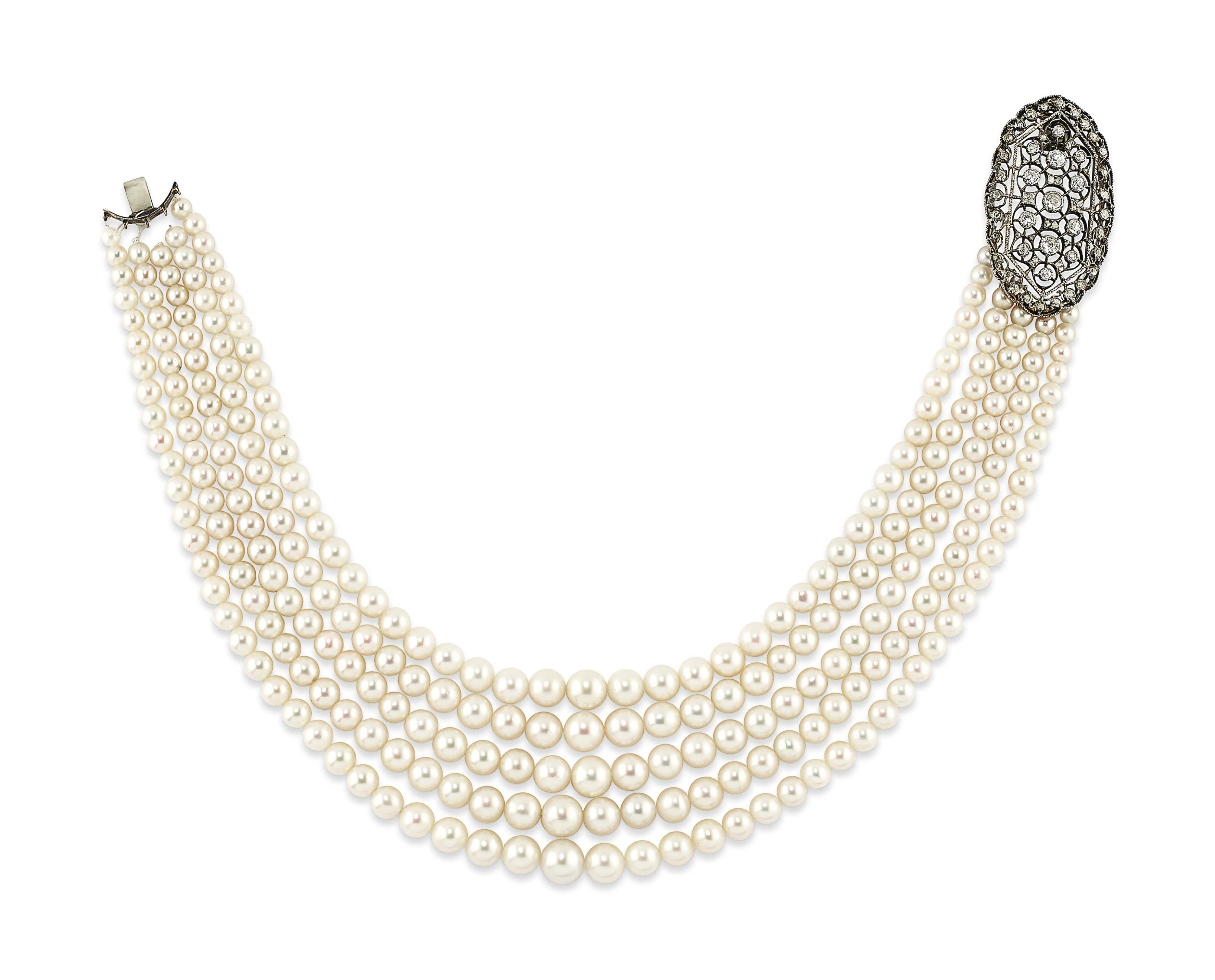 A NATURAL PEARL, CULTURED PEARL AND DIAMOND NECKLACE, BY BUCCELLATI