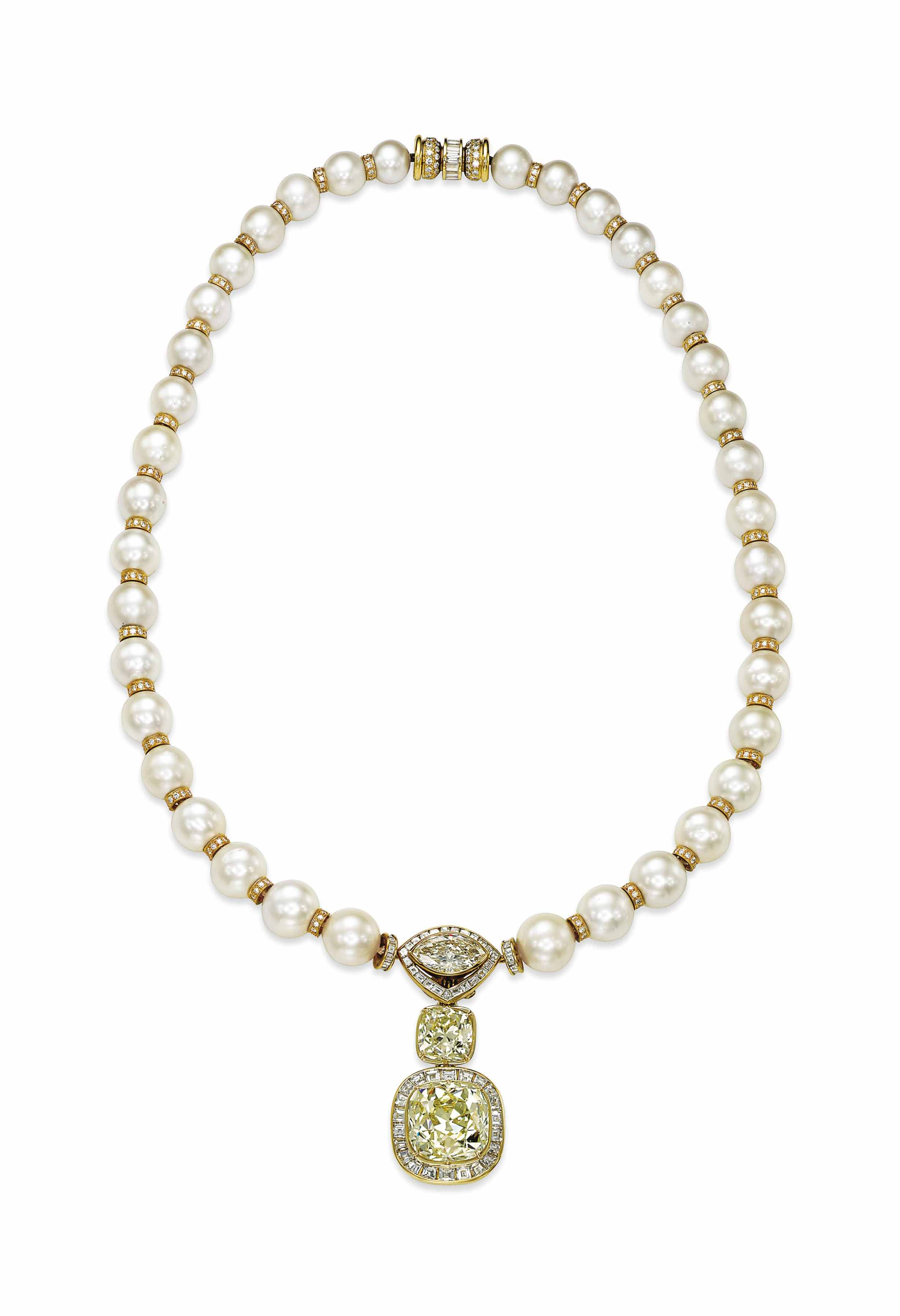 A COLOURED DIAMOND, DIAMOND AND CULTURED PEARL NECKLACE, BY ADLER