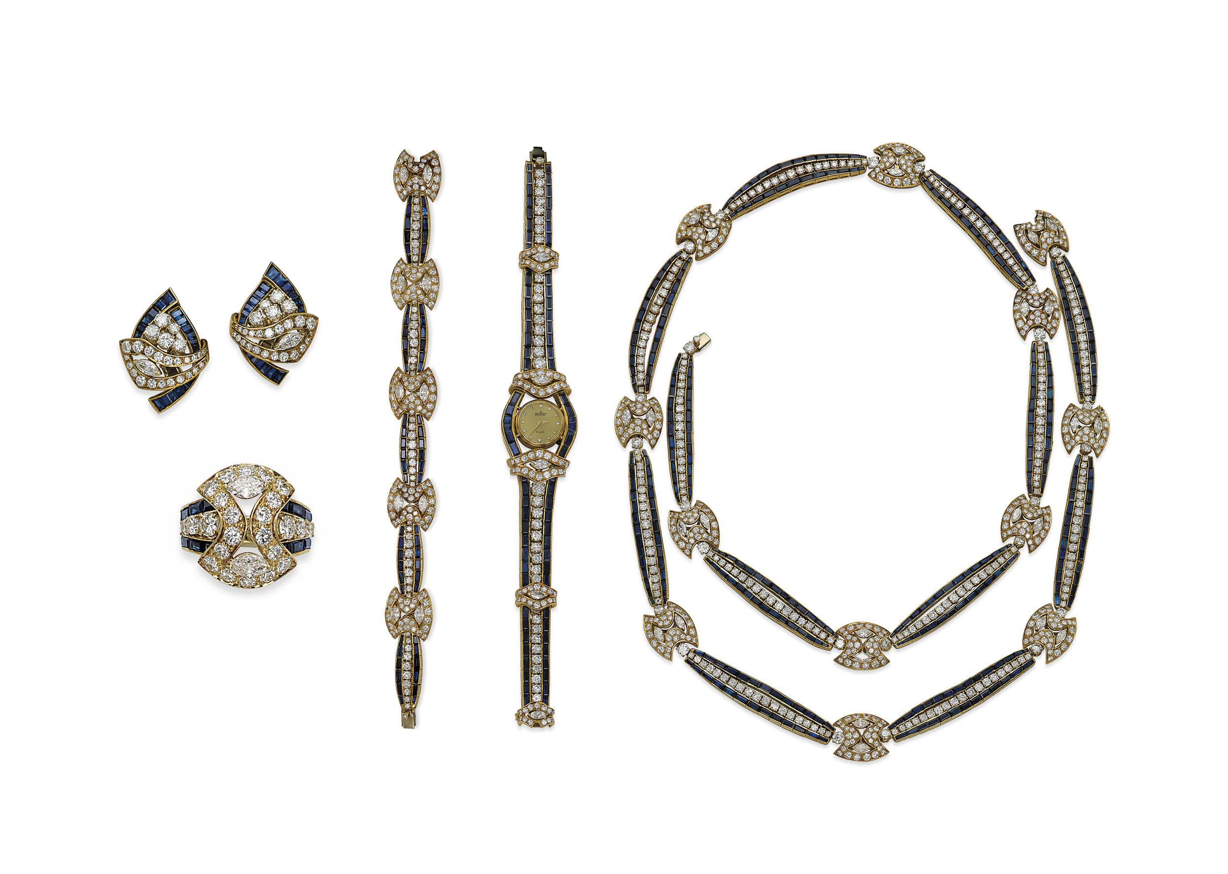 A SUITE OF DIAMOND AND SAPPHIRE JEWELLERY, BY ADLER
