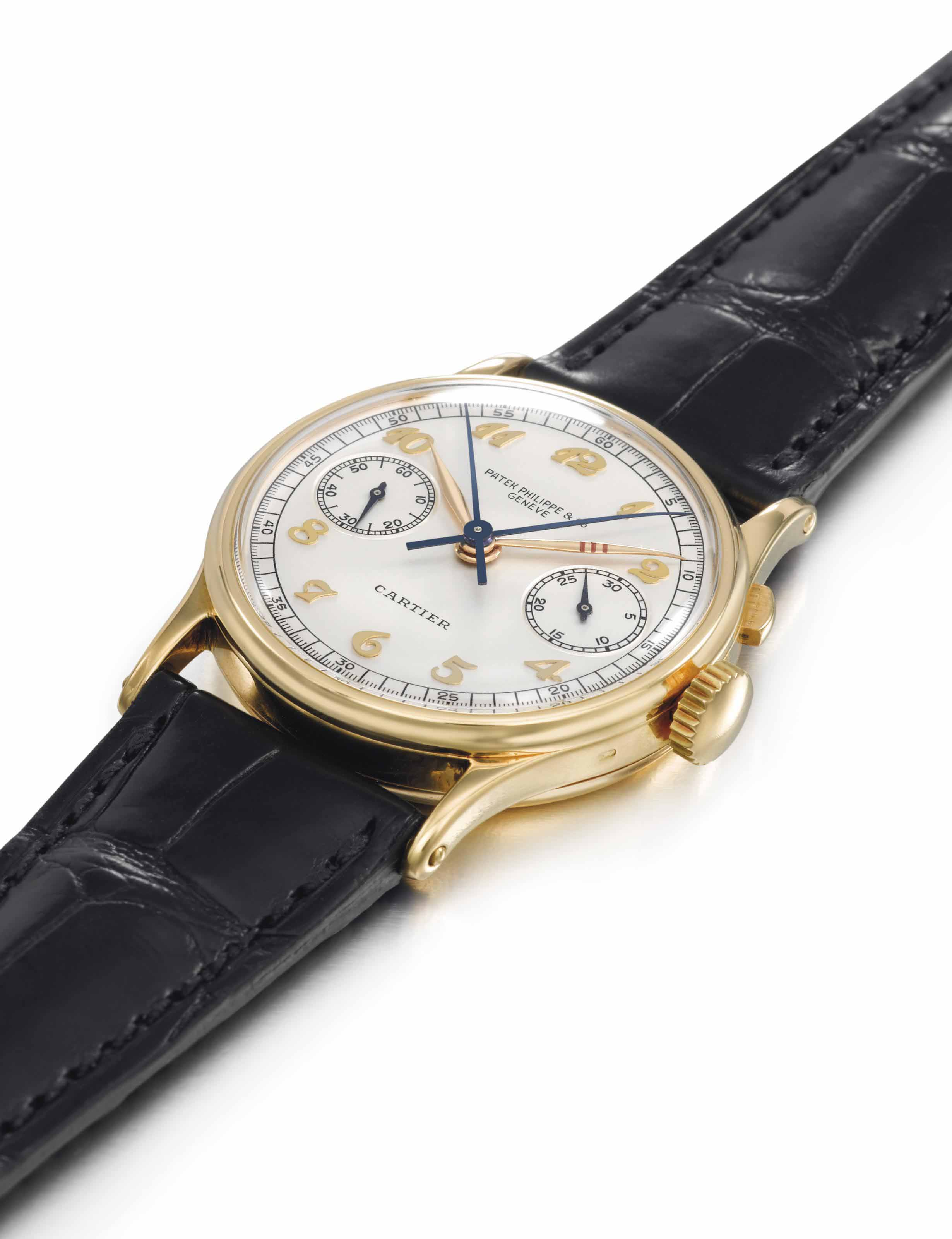 PATEK PHILIPPE. AN EXCEPTIONALLY RARE AND UNIQUE 18K GOLD WRISTWATCH WITH SINGLE BUTTON SPLIT-SECONDS CHRONOGRAPH, MADE ESPECIALLY FOR WILLIAM E. BOEING