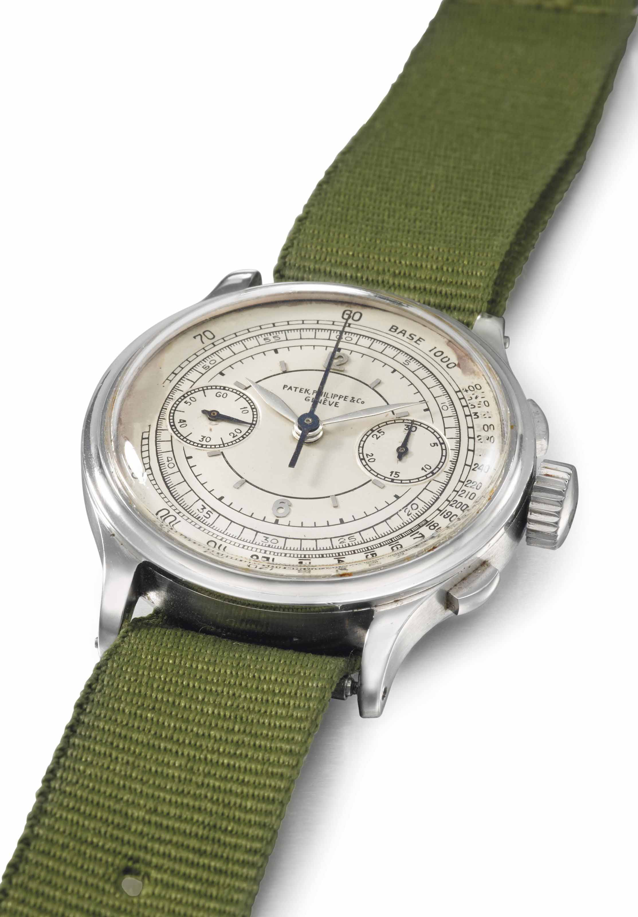Patek Philippe. An extremely rare, large and historically important stainless steel chronograph wristwatch with silvered sector dial