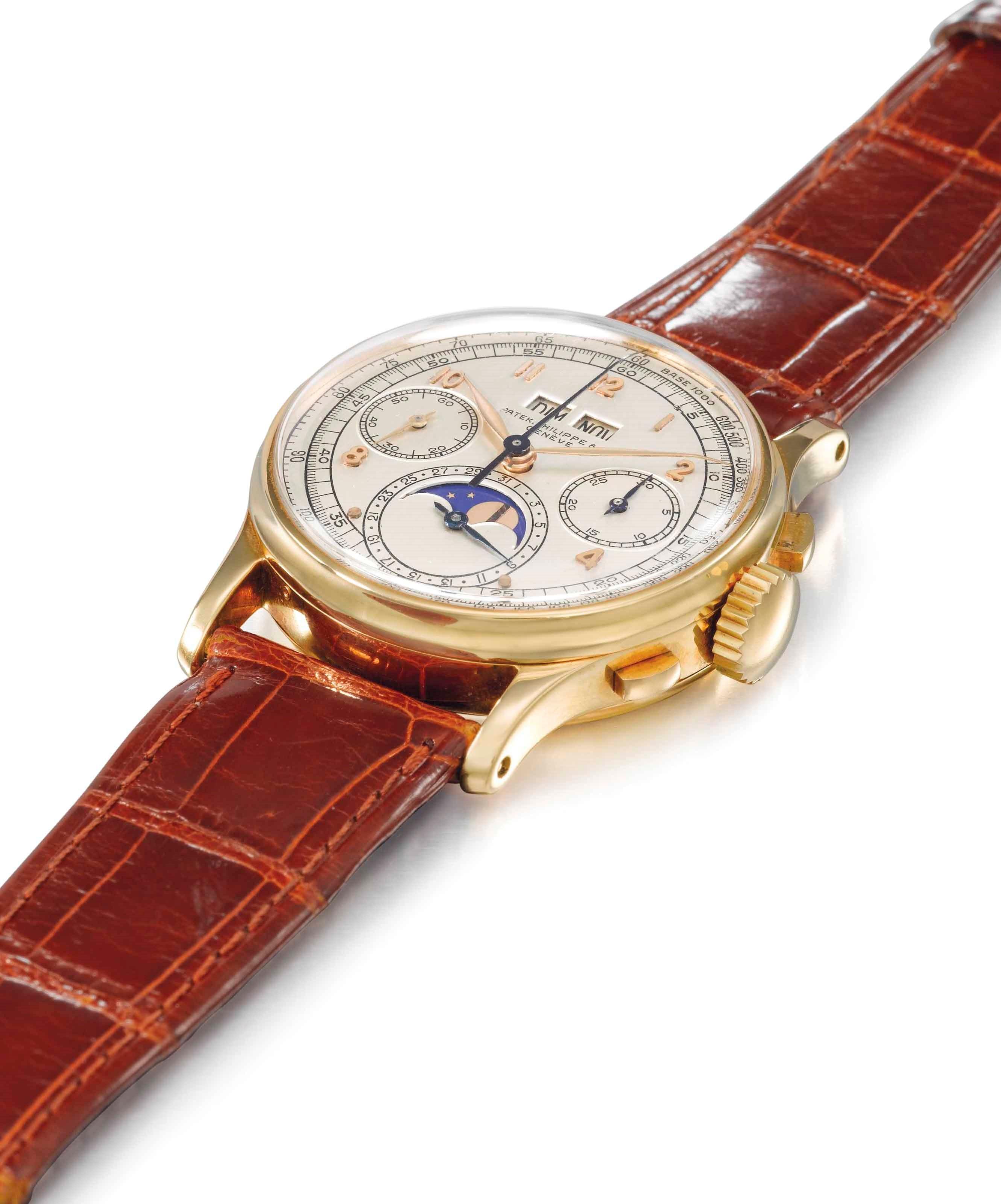 极为精致、罕见且历史悠久的18k金百达翡丽万年历计时腕表,显示月相盈亏,1944年制,直径35毫米。2014年11月9日在佳士得日内瓦以425,000瑞郎成交。