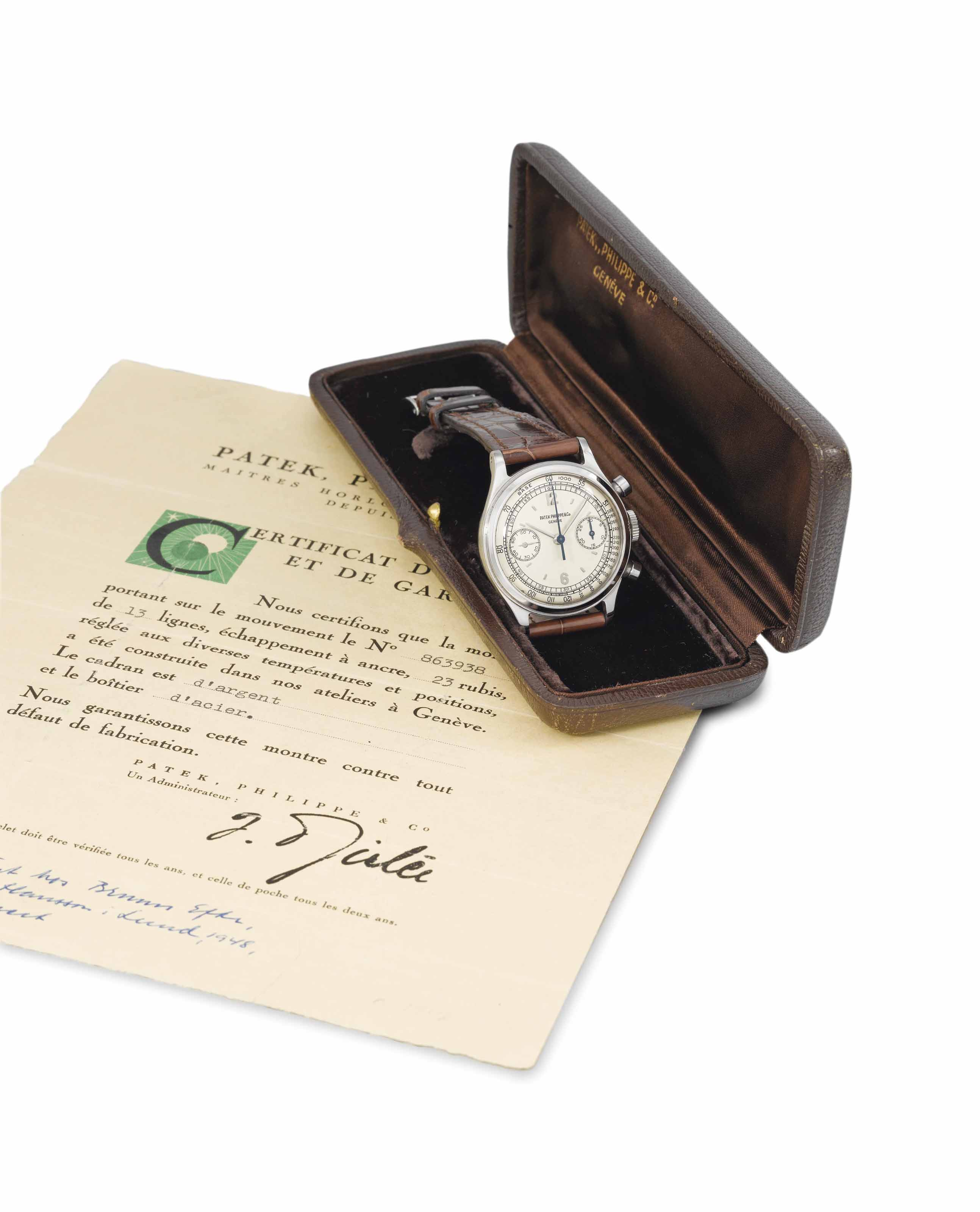 Patek Philippe. An extremely fine, rare and attractive stainless steel chronograph wristwatch with original certificate and box